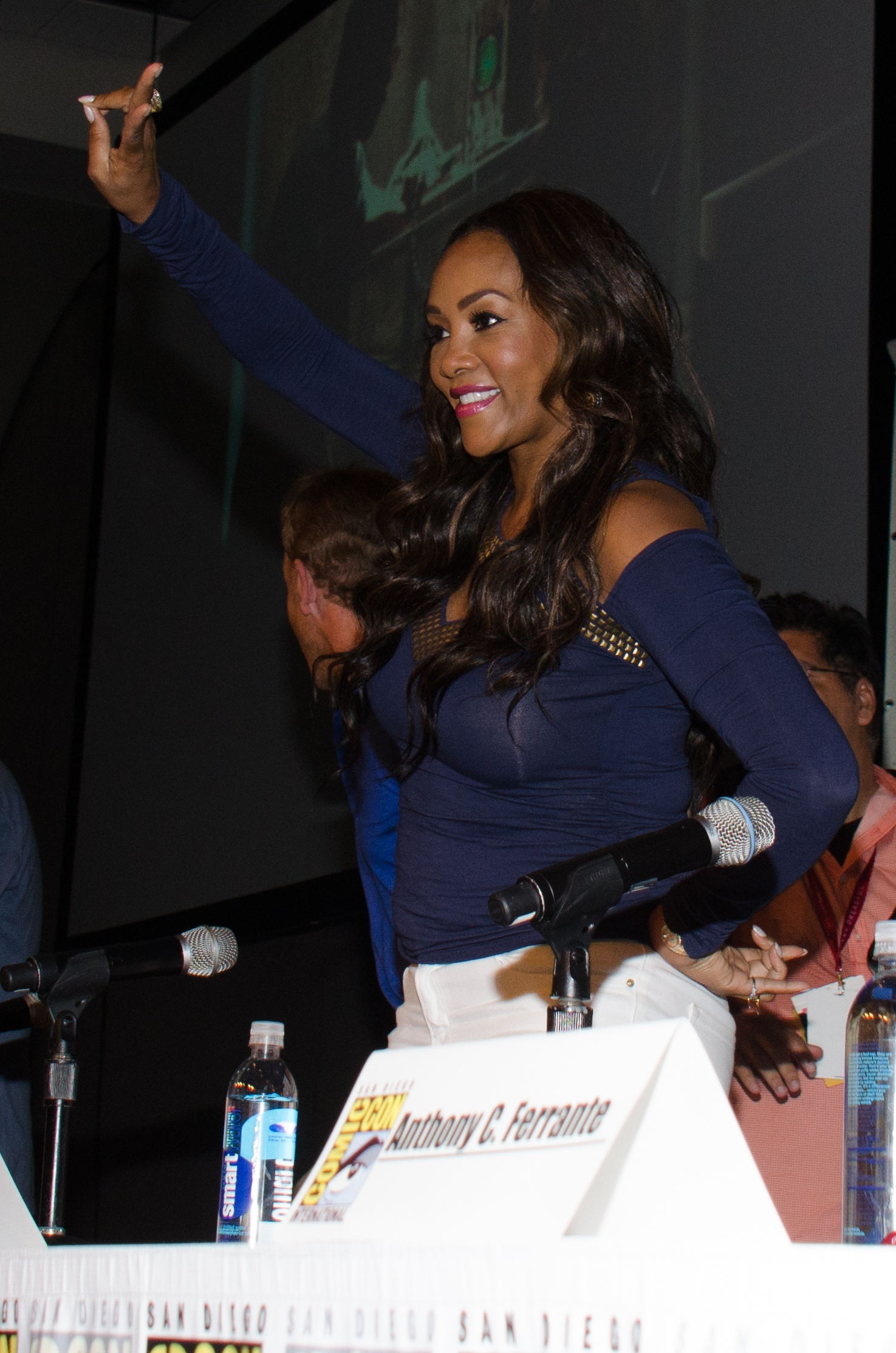 """Vivica A. Fox attends the """"Sharknado"""" panel on Day 1 of Comic-Con International on July 24. Fox wears jewelry from a Buffalo designer in Sharknado 2: The Second One. Photo by Tonya Wise/Invision/AP)"""