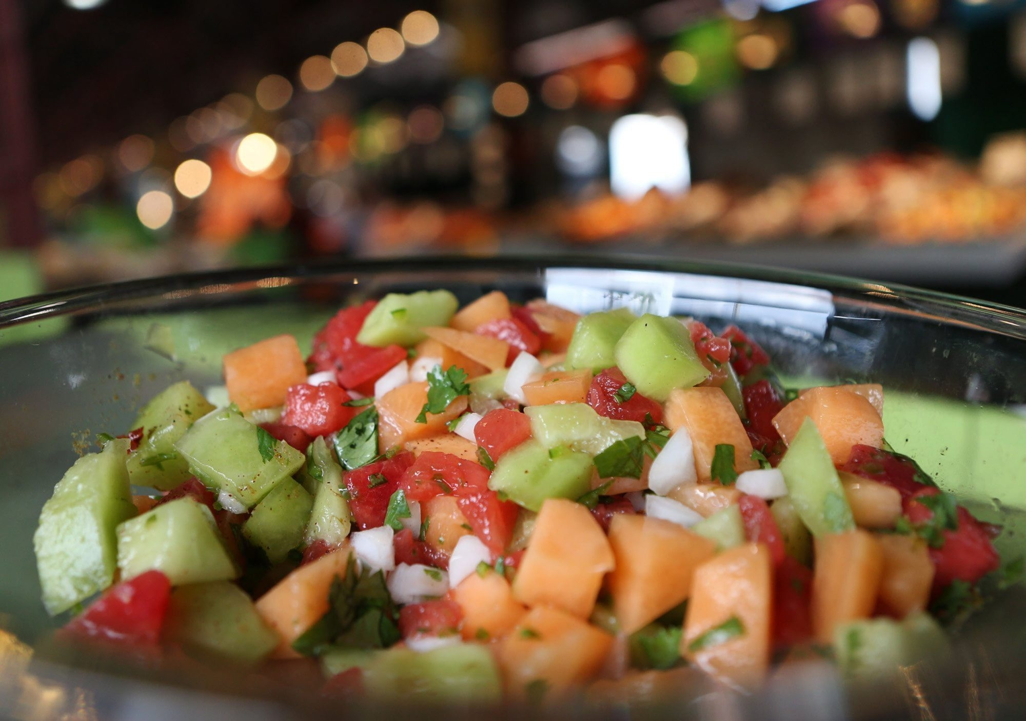 Picante Three-Melon Salad is bursting with colors and tastes of summertime.