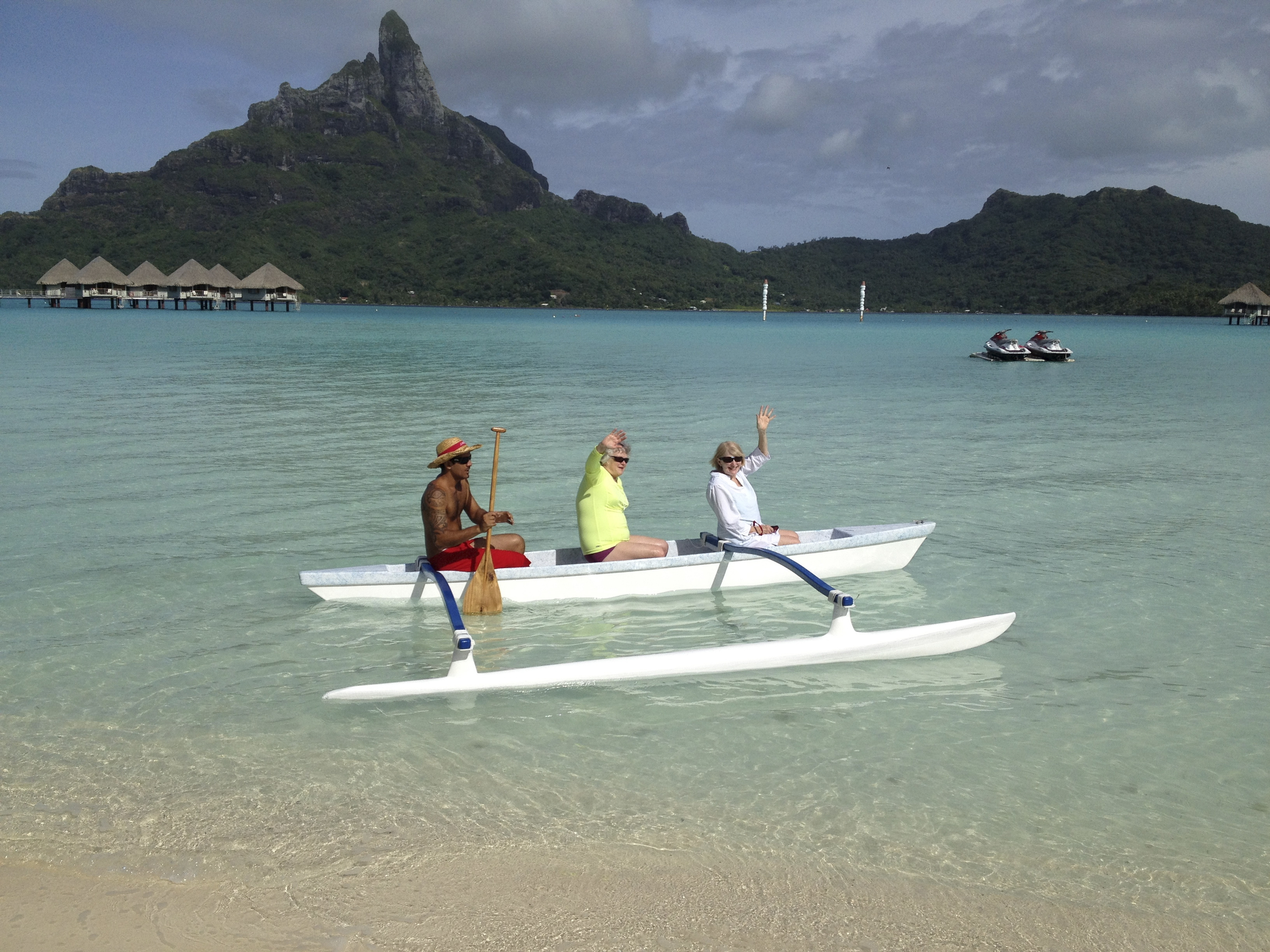 """Leanne Robinson, 70, right, visits Bora Bora to gather knowledge in hopes of leading a trip there for Road Scholar, formerly Elderhostel. She has found a """"pretty nice working environment"""" as a baby boomer redefining retirement through exotic jobs."""