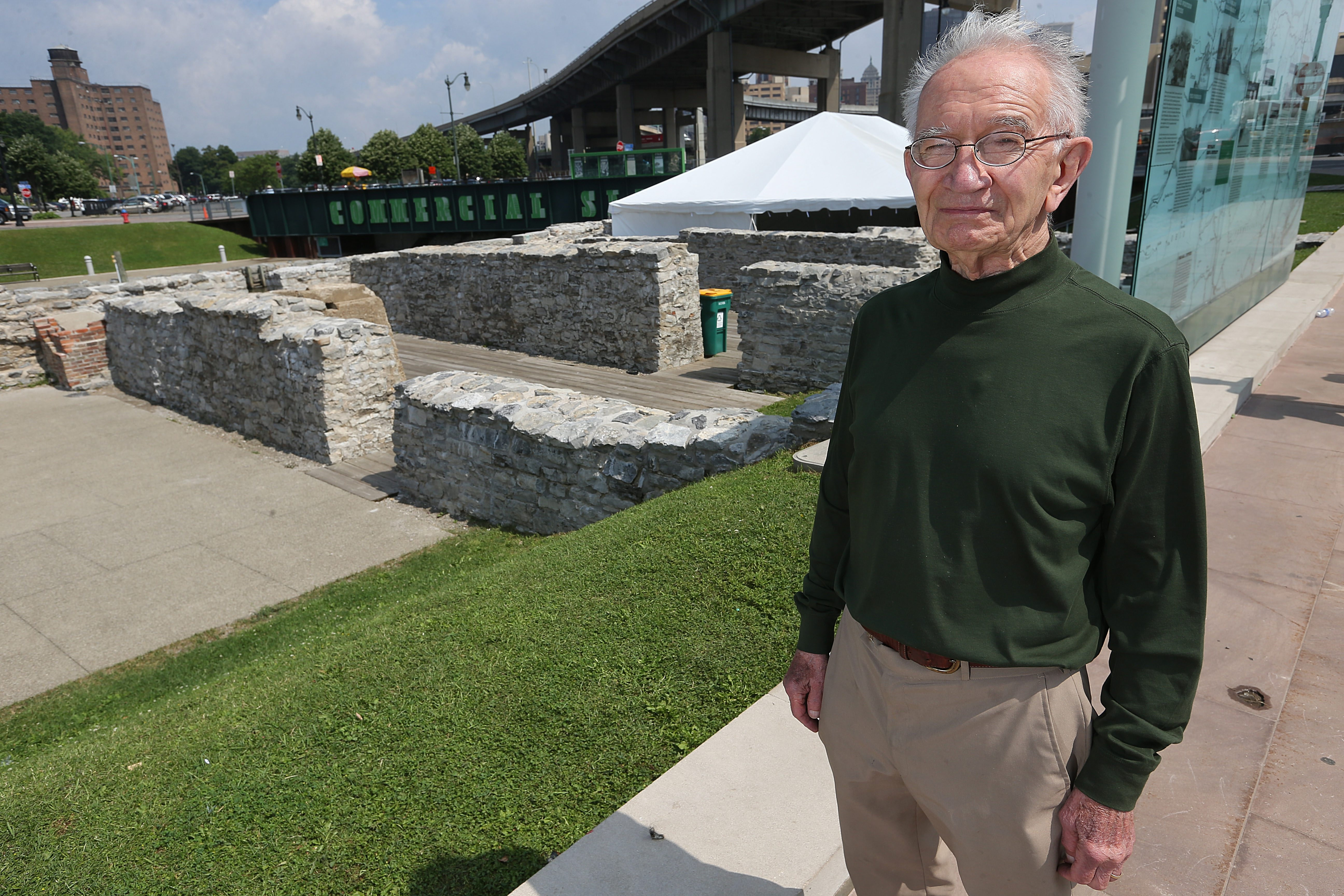 Henry Baxter, 91, of Buffalo, standing near the Commercial Slip ruins, reflects on the what the area was like years ago.