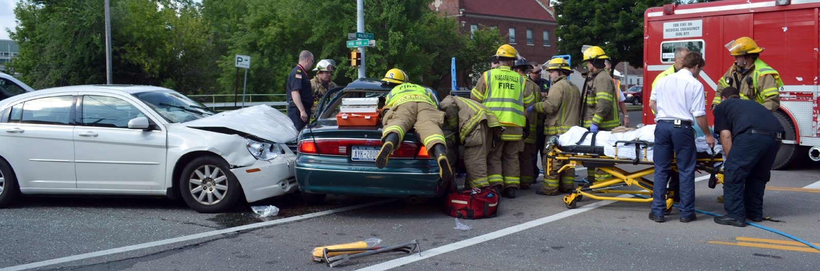 Niagara Falls firefighters used the jaws of life to extricate at least one injured person. (Larry Kensinger/Contributor)