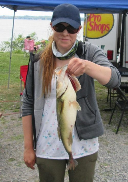 Katherine Owczarzak caught a big bass during a Cayuga Lake contest last weekend.
