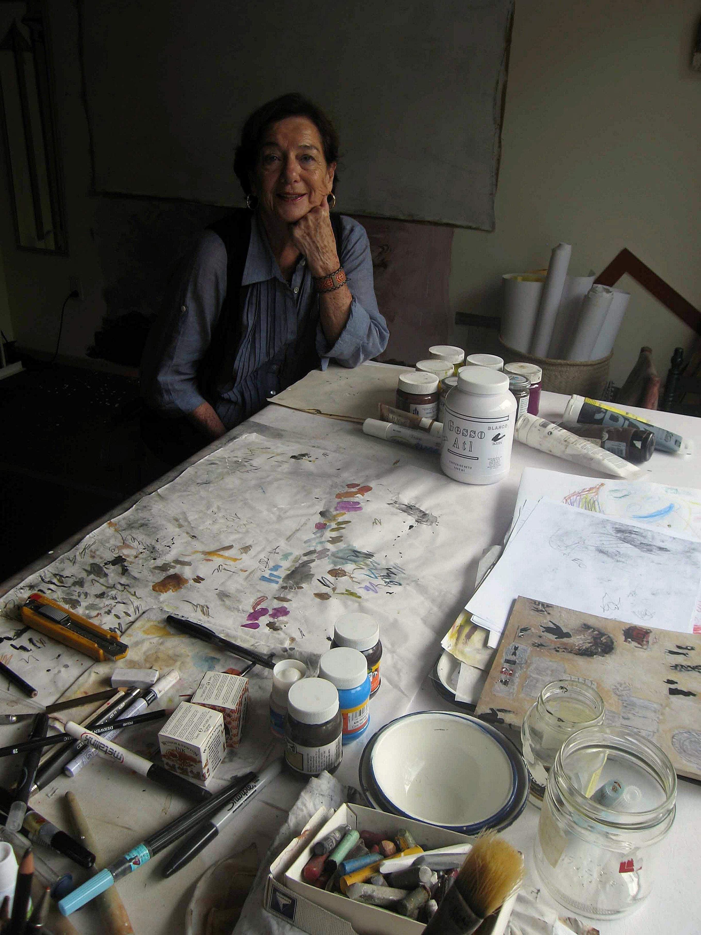 Artist Teresa Cito sits in her Mexico City art studio on June 20. Cito participates in Mexico's Payment in Kind program, where artists donate art to the state instead of paying taxes.