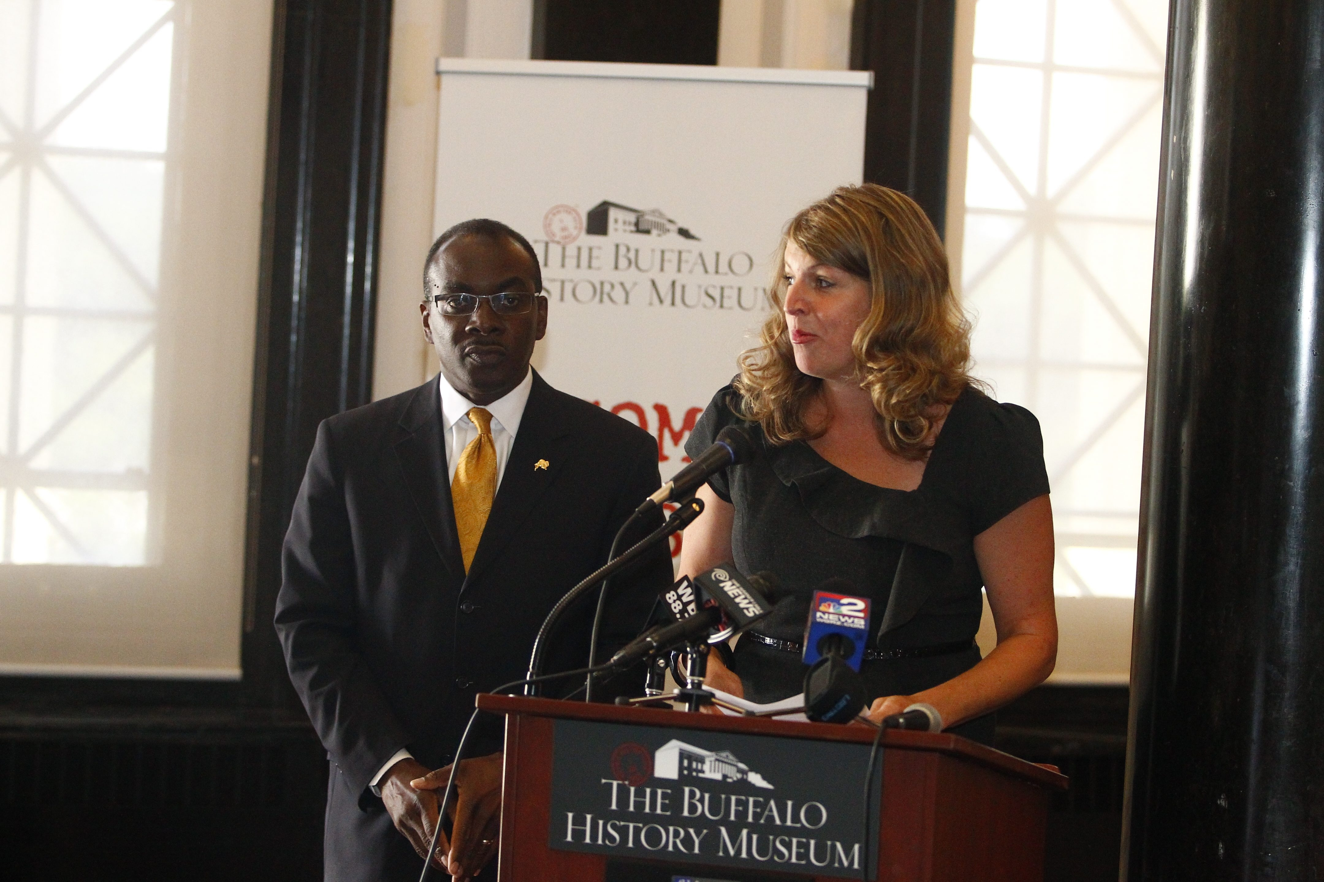 The Buffalo History Museum  Executive Director Melissa Brown, right,  and Mayor Byron Brown announced nearly $1 million in improvements to the electrical, lighting, fire, and security systems at The Buffalo History Museum, in  Buffalo, N.Y. on Thursday, July 24, 2014. (John Hickey/Buffalo News)