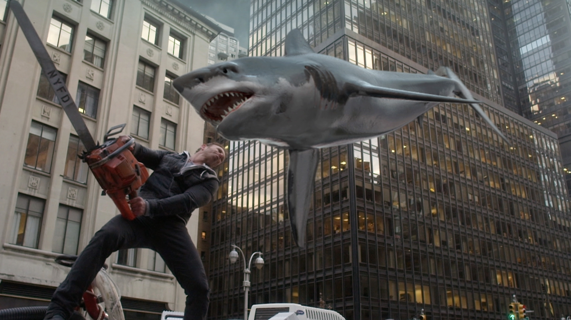 """Syfy brings back Ian Ziering as Fin Shepard in a scene that shows """"Sharknado 2: The Second One"""" will be as campy as the original."""
