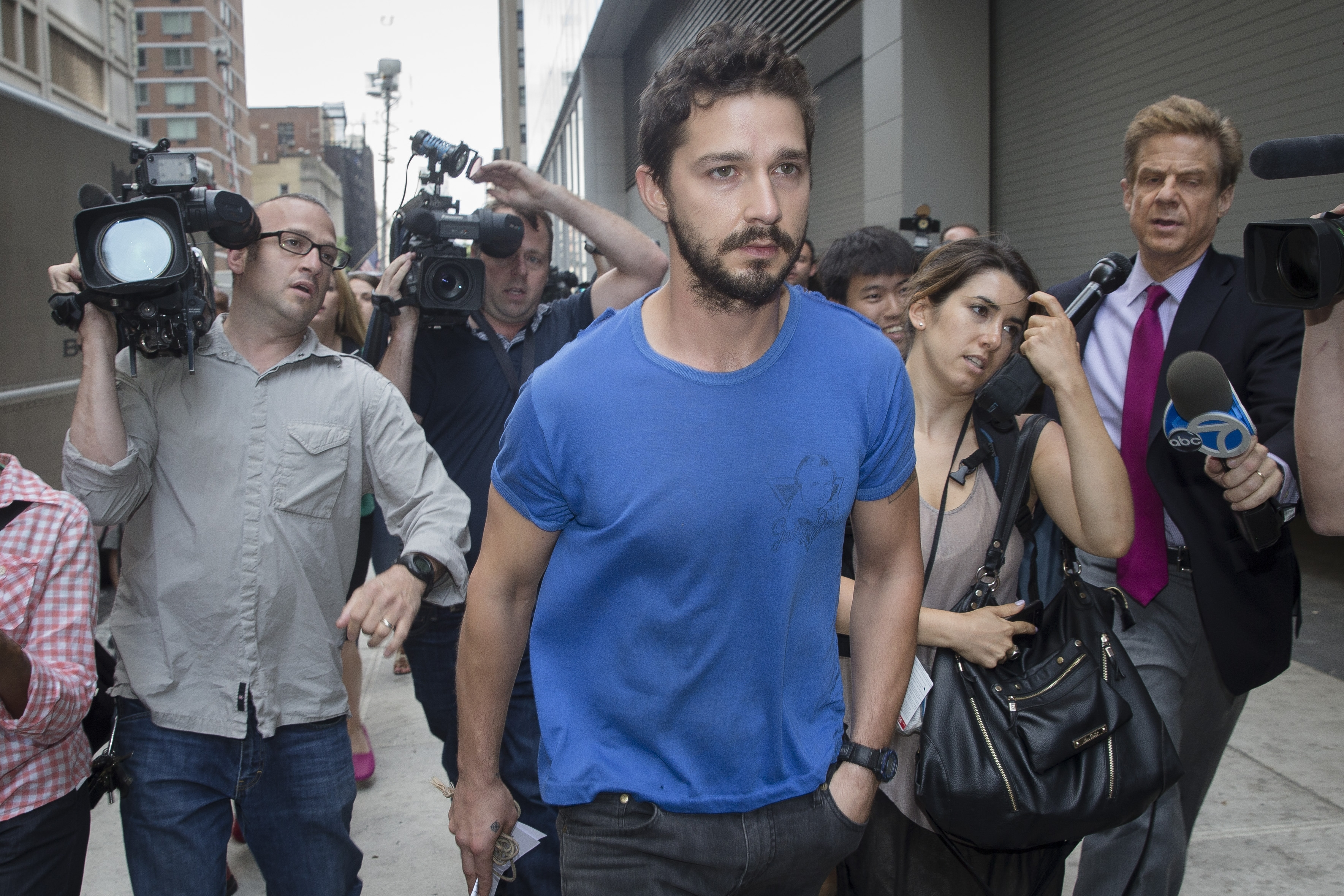 Actor Shia LaBeouf leaves Midtown Community Court in Manhattan following his arrest June 27.