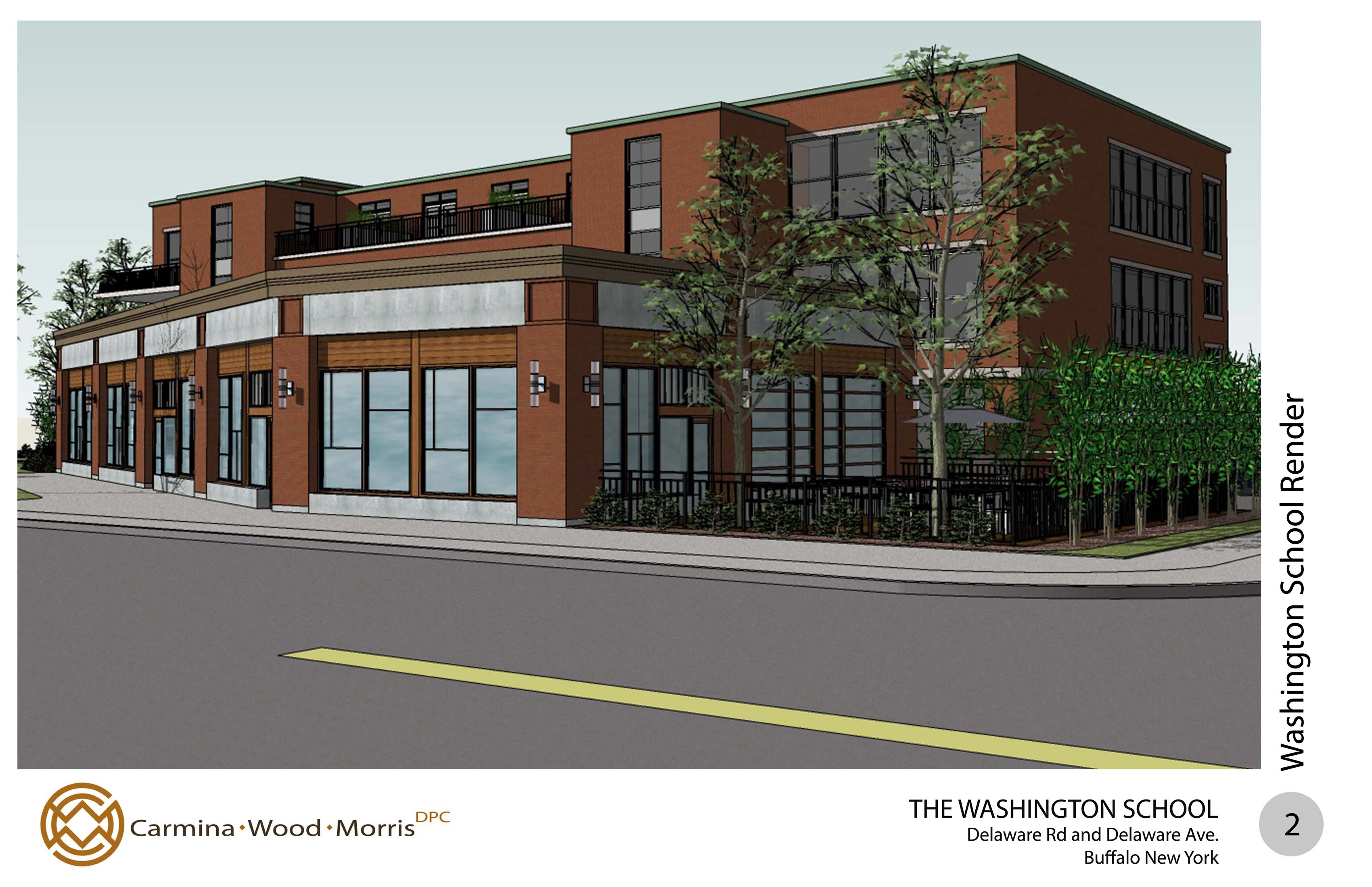 Conceptual rendering of the proposed housing/retail project planned for an old school in Kenmore.