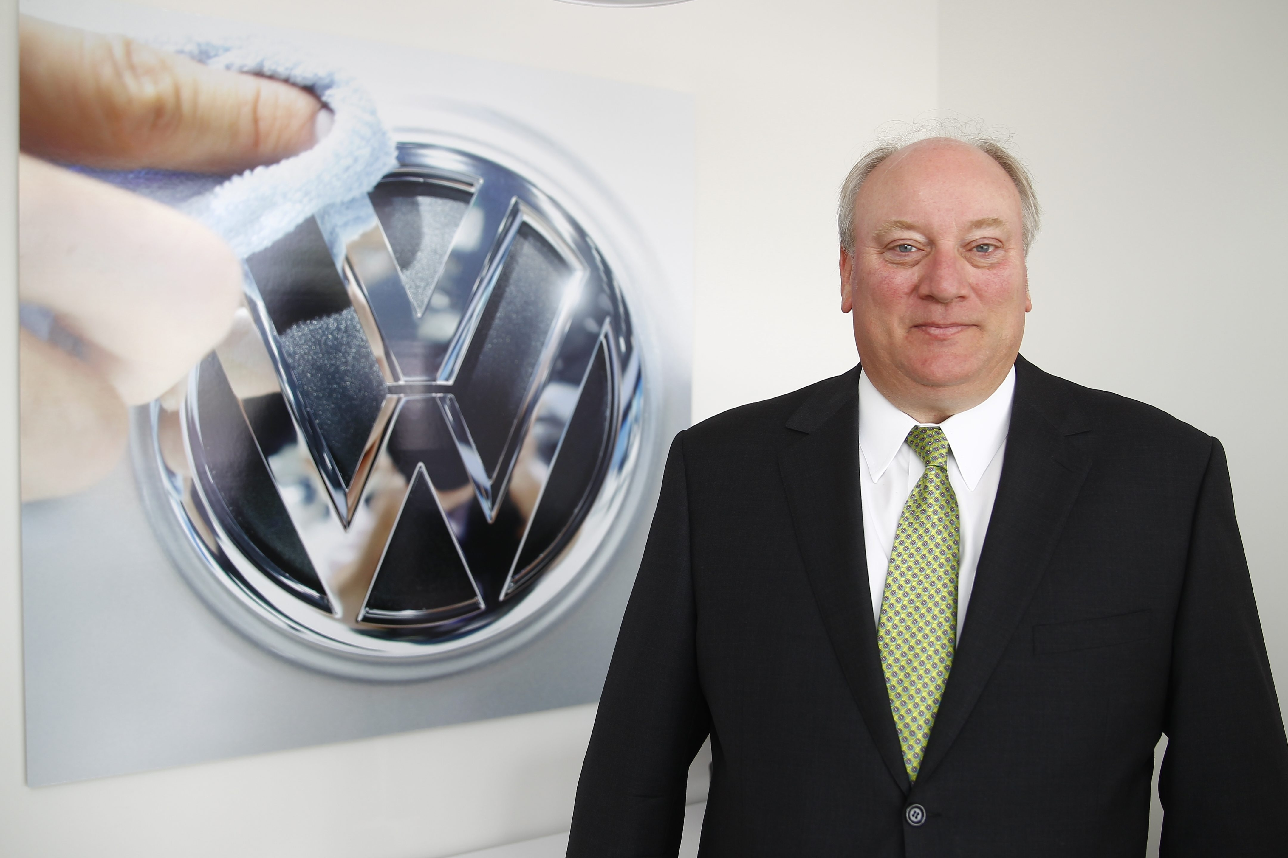 Q&A with Mike Basil, principal of Basil Volkswagen, which opens this month. Talking to him about the new dealership, state of VW sales in the U.S. and car sales in general, at  Basil Volkswagen   in  Lockport, N.Y. on Monday, July 21, 2014. (John Hickey/Buffalo News)