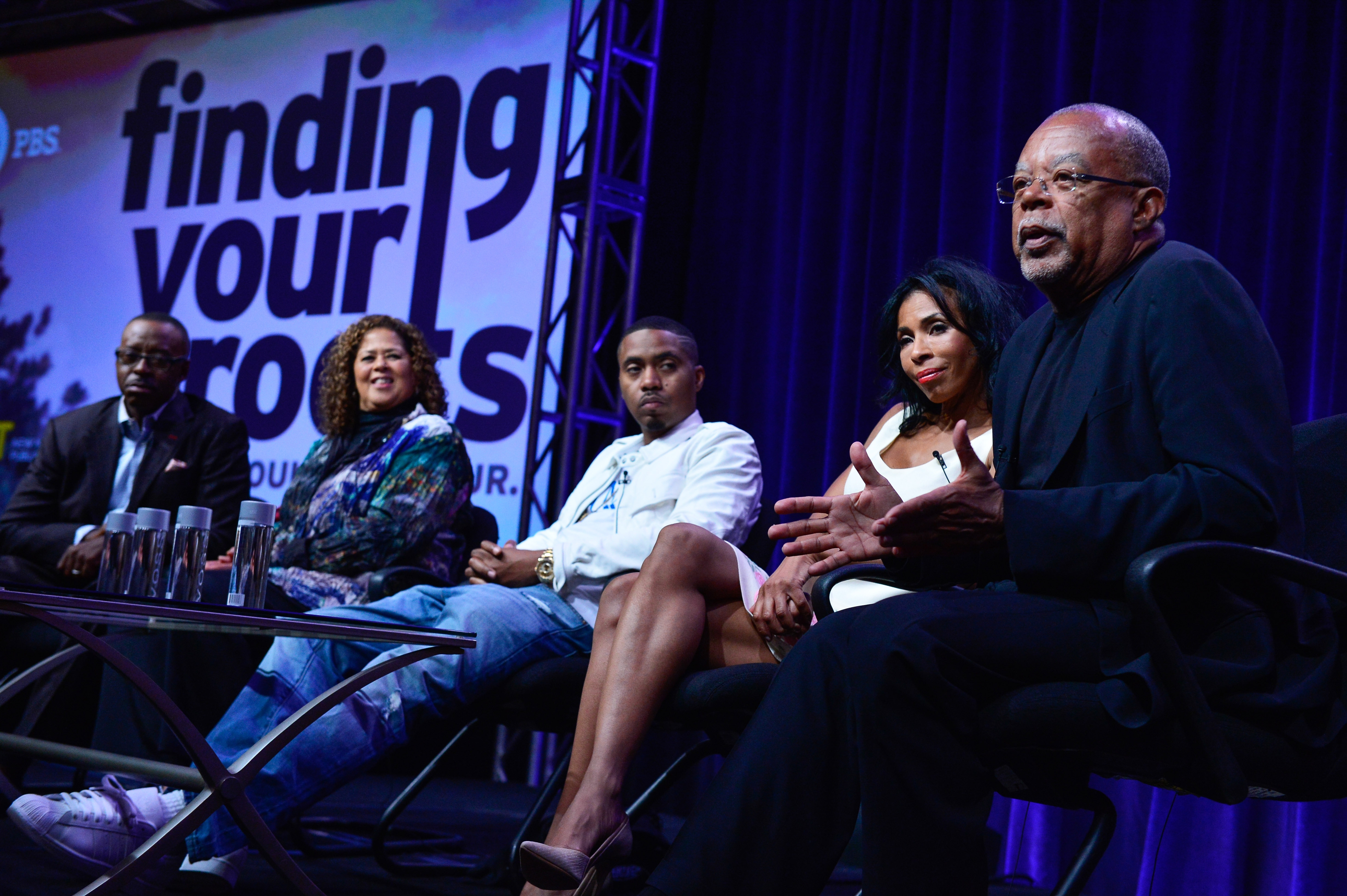 """Rooted in history: Actor Khandi Alexander and host/executive producer Henry Louis Gates Jr. discuss PBS' """"Finding Your Roots"""" series with television critics Wednesday in Beverley Hills, Calif. The 10-part series debuts Sept. 23."""