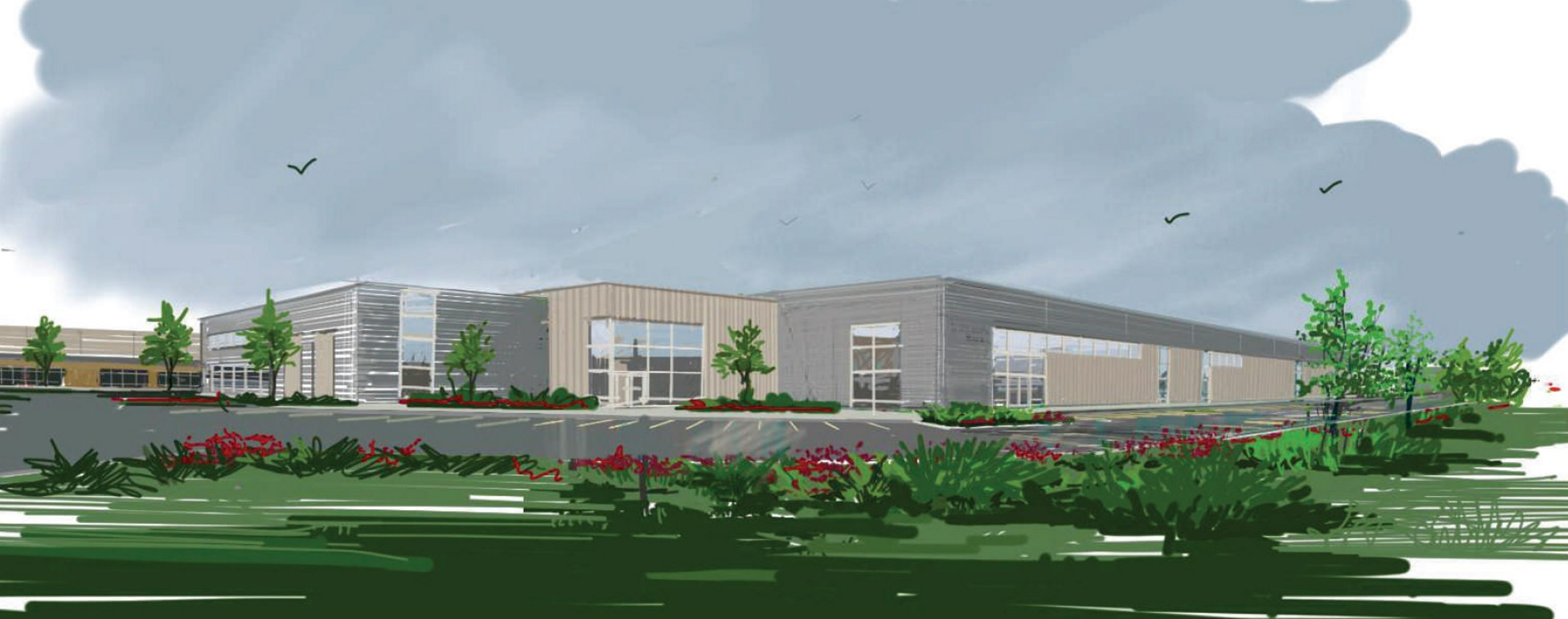 A rendering of the Garden Village Commerce Park proposed for Cheektowaga by Benderson Development.