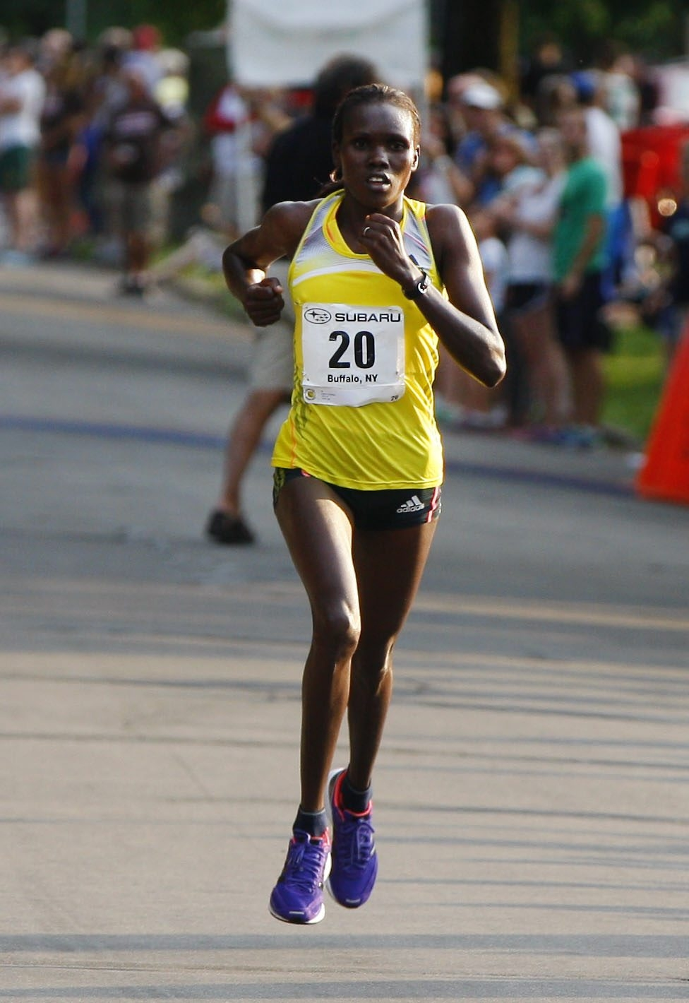Cynthia Limo of Kenya set a Subaru Buffalo 4-Mile Chase course record for women, covering the distance in 20 minutes and 3 seconds on Friday evening. She earned a $1,000 bonus for the record.
