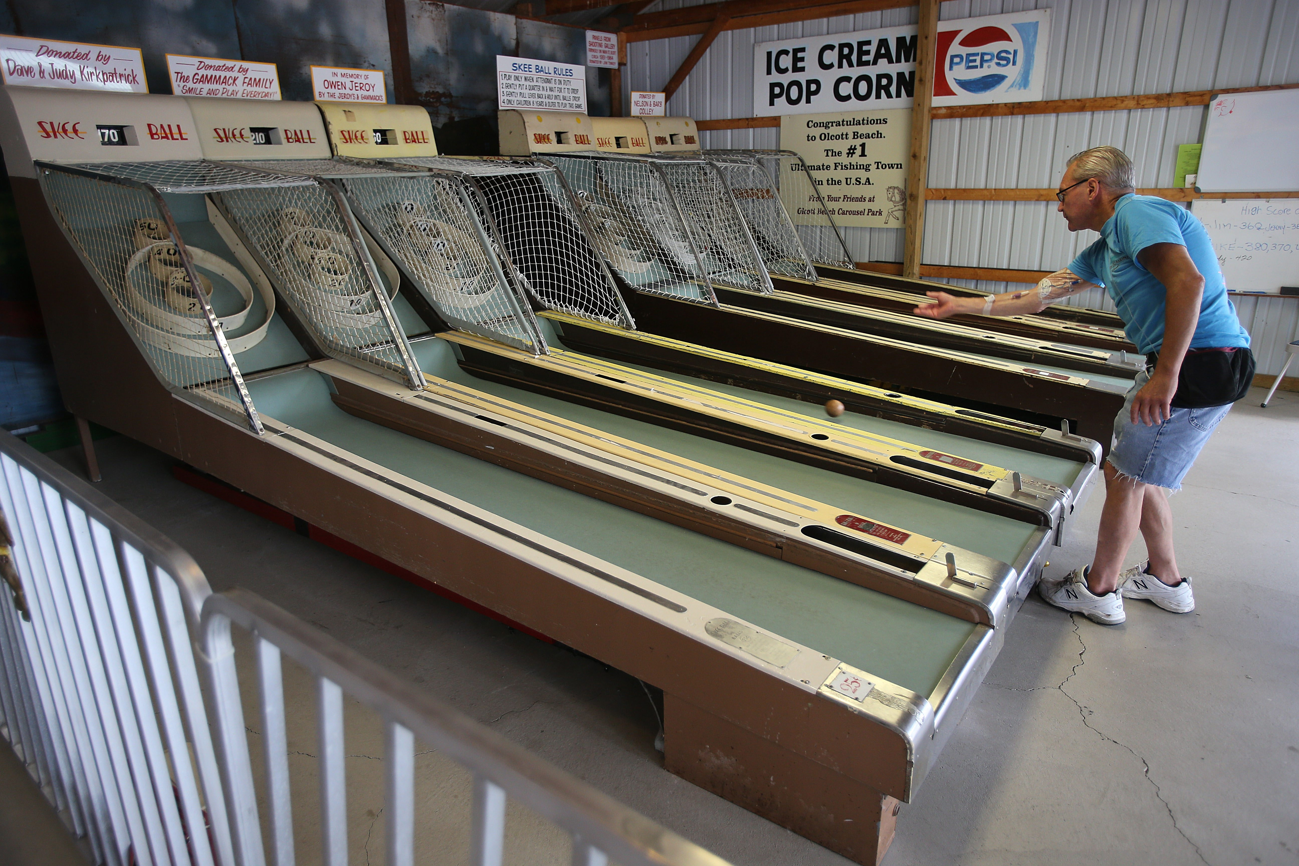 Matt Wronski, of Middleport, plays Skee Ball at the Olcott Carousel Park,  one of the venues that will be part of Old Olcott Days.