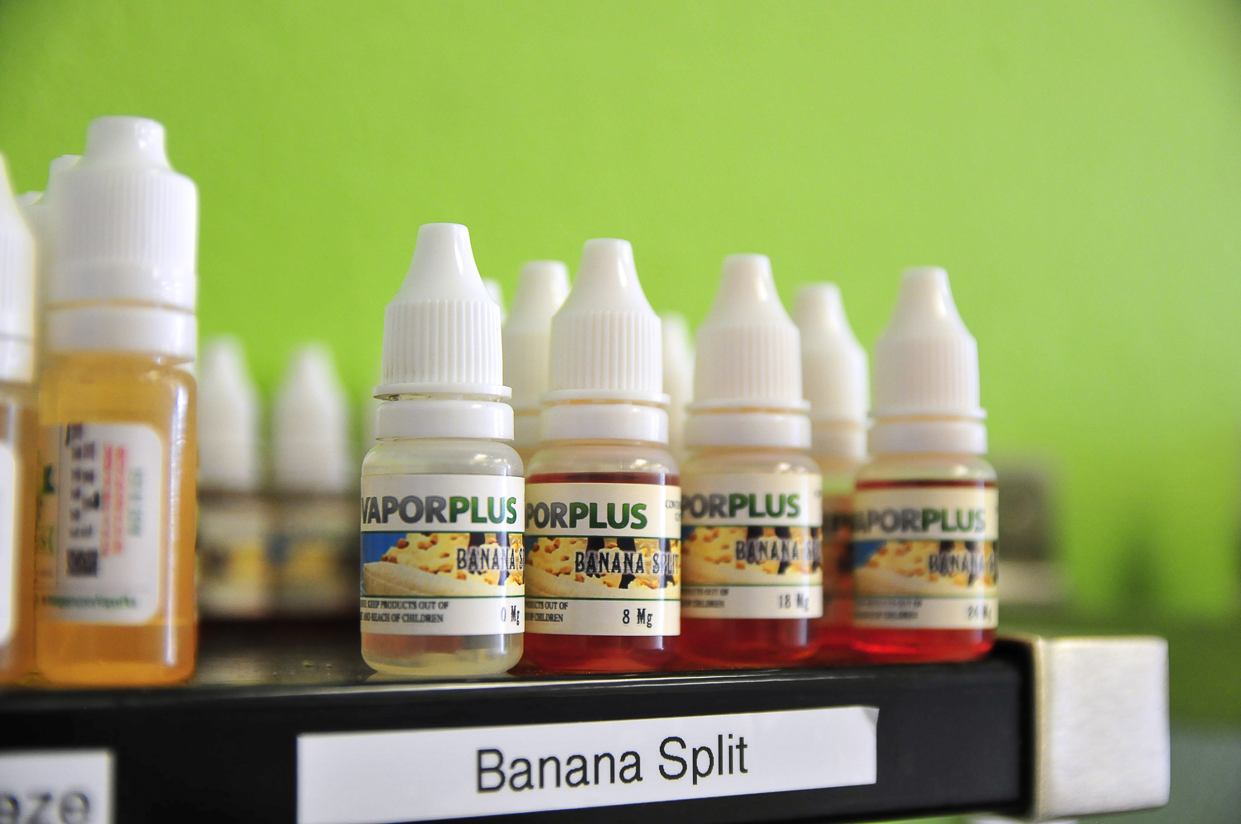 Banana Split is one of the best-selling flavors at Vapor Plus, an e-cigarette shop in Oklahoma City. Such flavors have been banned in regular cigarettes out of concerns they would tempt youngsters to smoke.