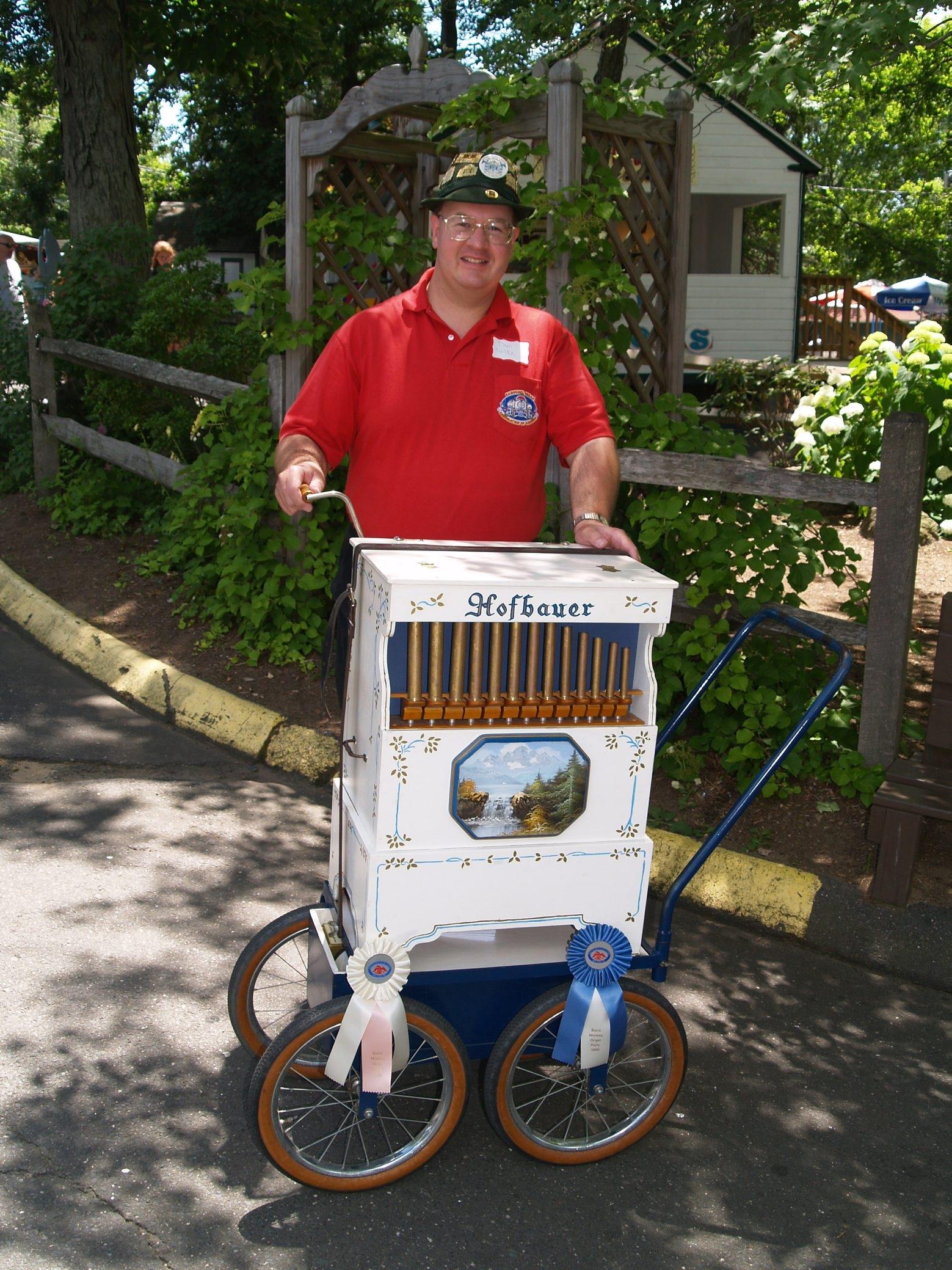 Organ grinder Dan Wilke has been volunteering at the Olcott Beach Carousel Park for about 10 years.