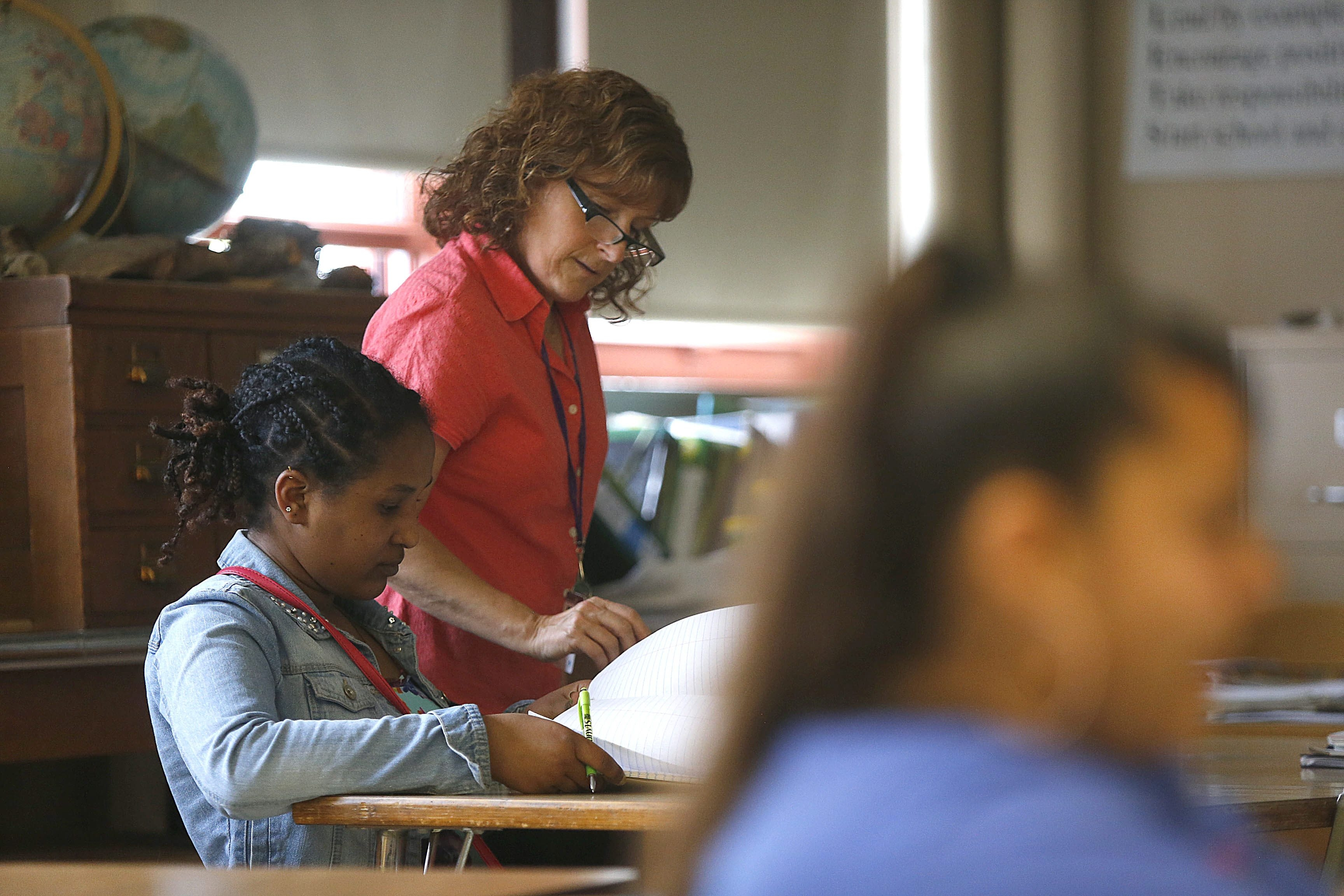 Mary Jo Hellerer, a 22-year veteran teacher, says that although her students at Lafayette High School are intelligent, the vocabulary in her biology class is difficult for many of the international students.