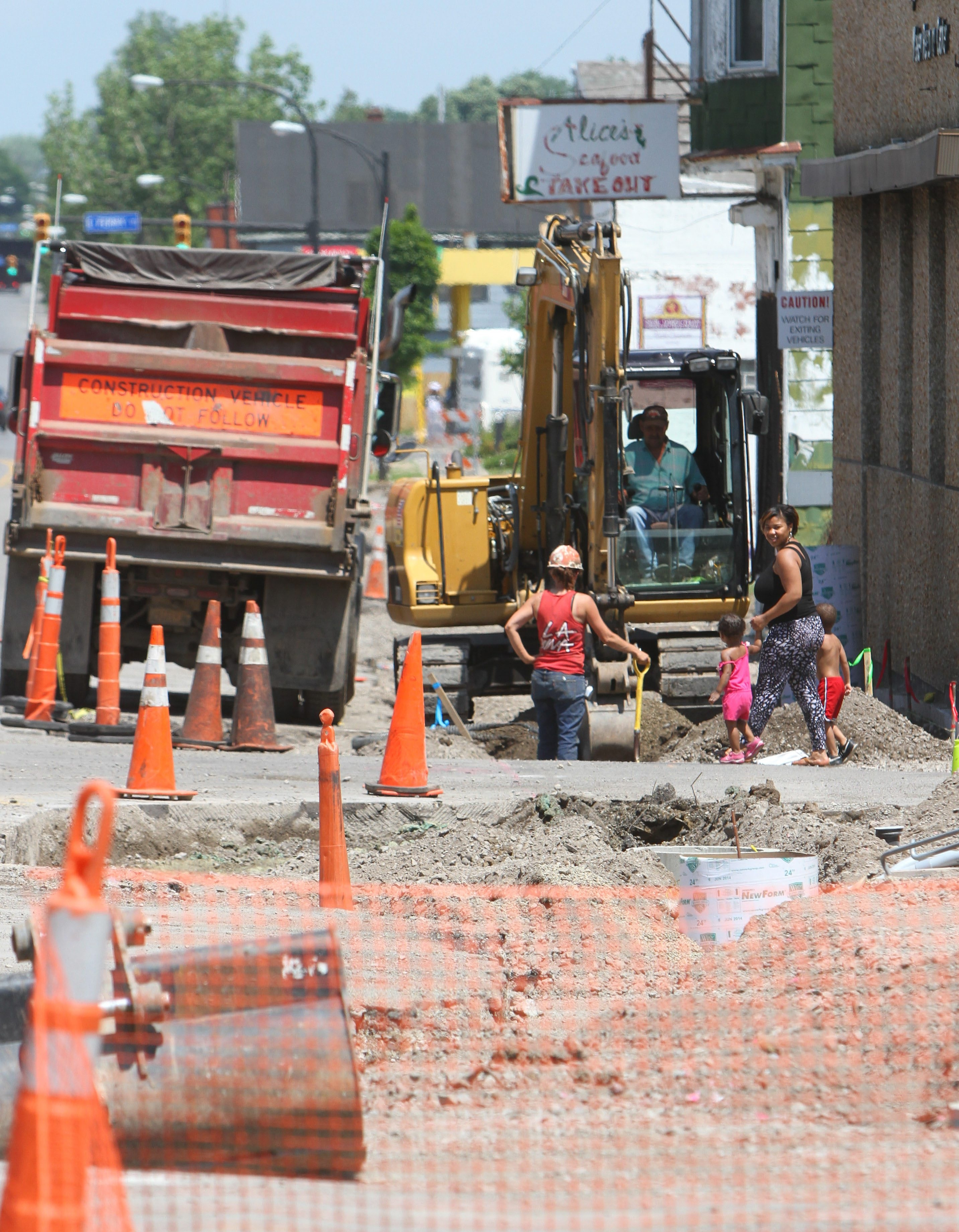 Construction continues on Fillmore Ave in Buffalo Wednesday, July 2, 2014.  (Mark Mulville/Buffalo News)