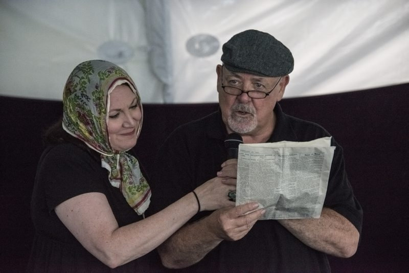 """Loraine O'Donnell and Laurence Shine appear in the new play """"It Happened Here,"""" running near the Commercial Slip at Canalside through Aug. 11."""