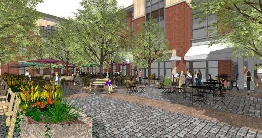 An outdoor scene envisioned within the $238 million Westwood project offers a look at how public space will be designed on 170-acre site. (Mensch Capital Partners LLC)