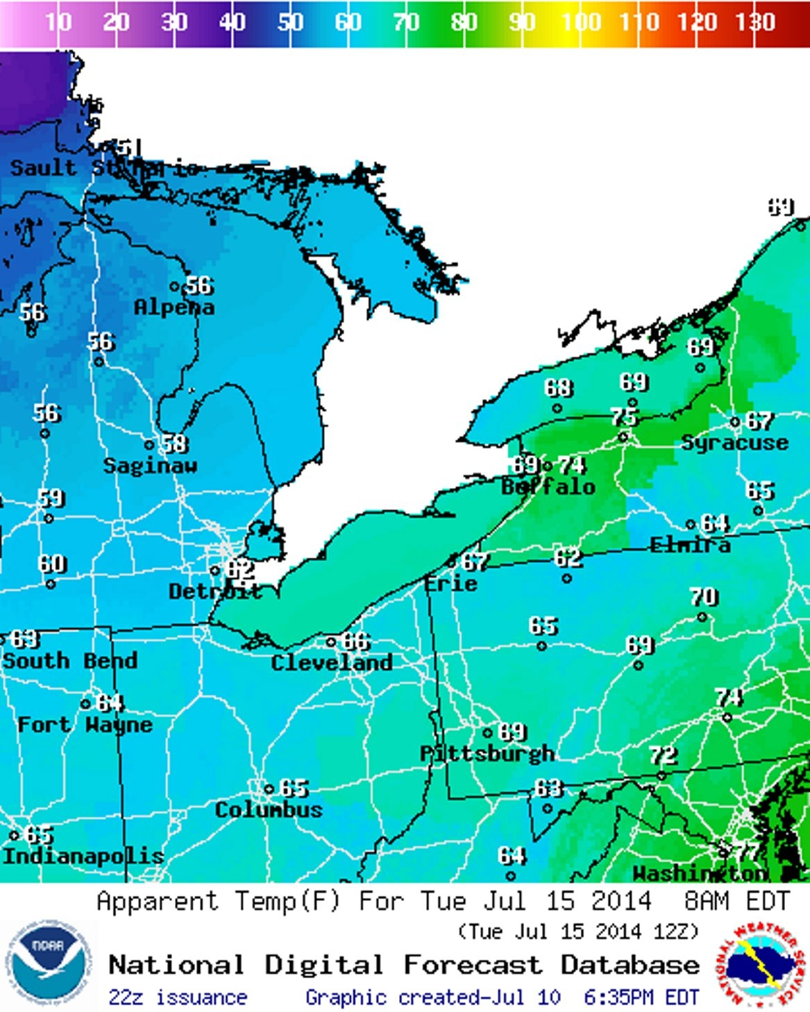 A forecast chart from NOAA shows a colder-than-usual forecast for Tuesday morning.
