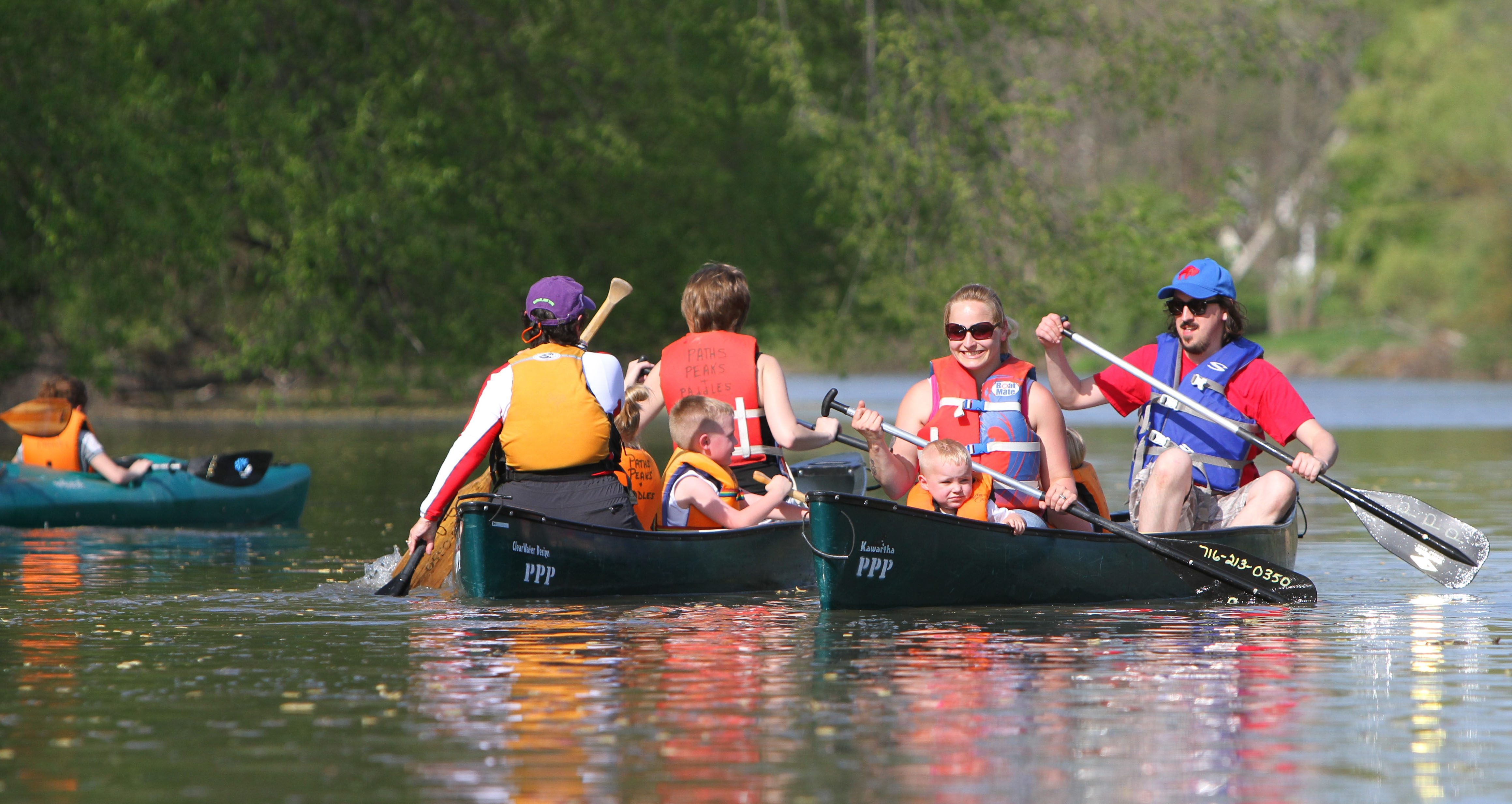 The peaceful waters of the creek are ideal for a canoe trip before or after a picnic.