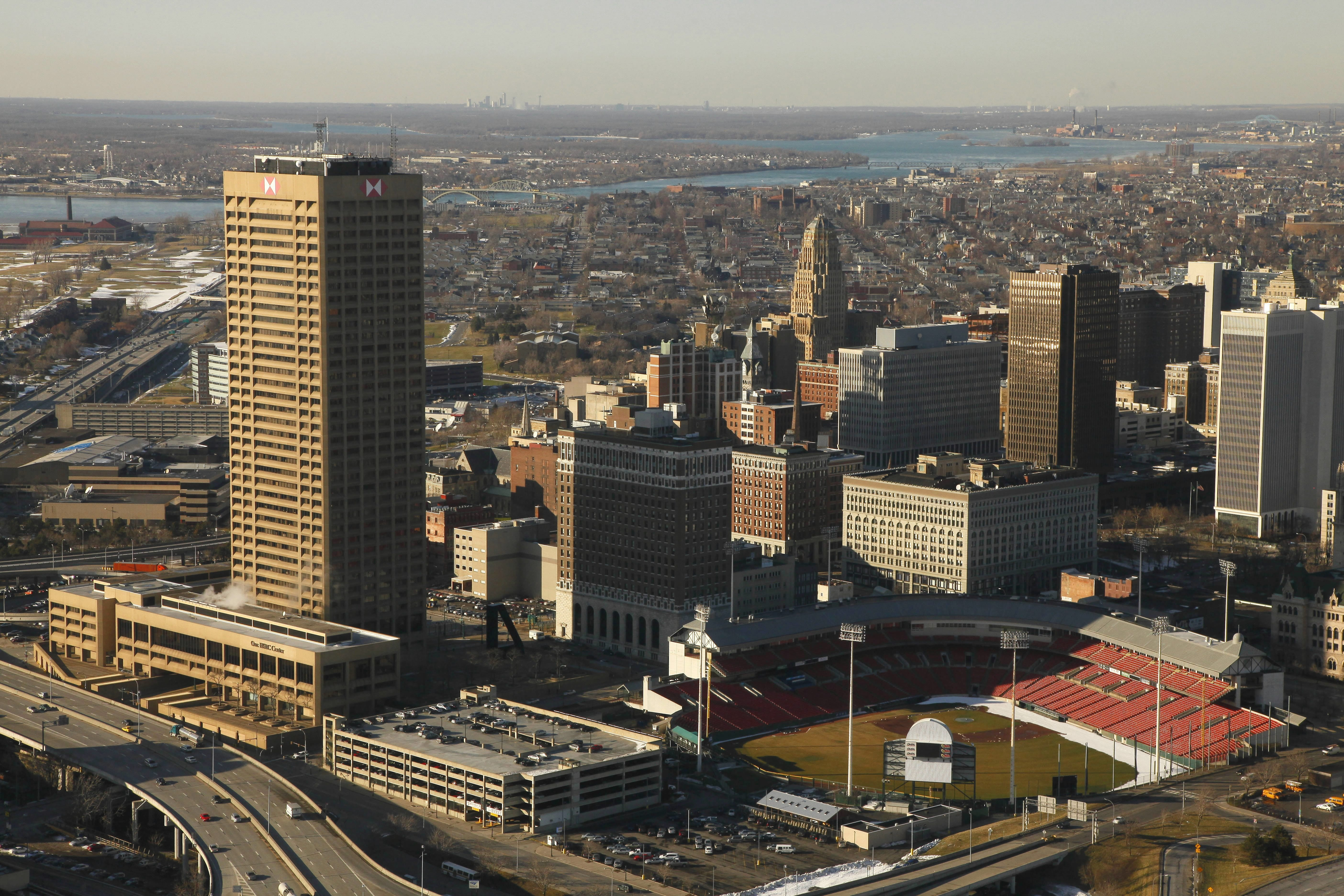 Aerial view of downtown Buffalo. Photo taken Feb. 13, 2009, by Derek Gee