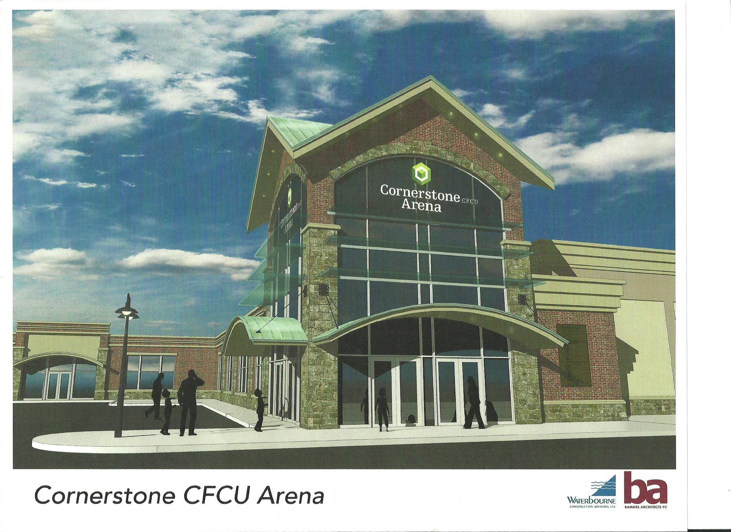 Architect's rendering of Cornerstone CFCU Arena being built in Lockport.