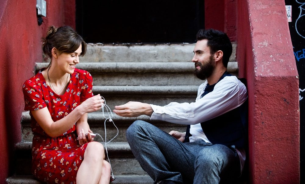 """This image released by The Weinstein Company shows Keira Knightley, left, and Adam Levine in a scene from """"Begin Again."""" (AP Photo/The Weinstein Company, Andrew Schwartz)"""