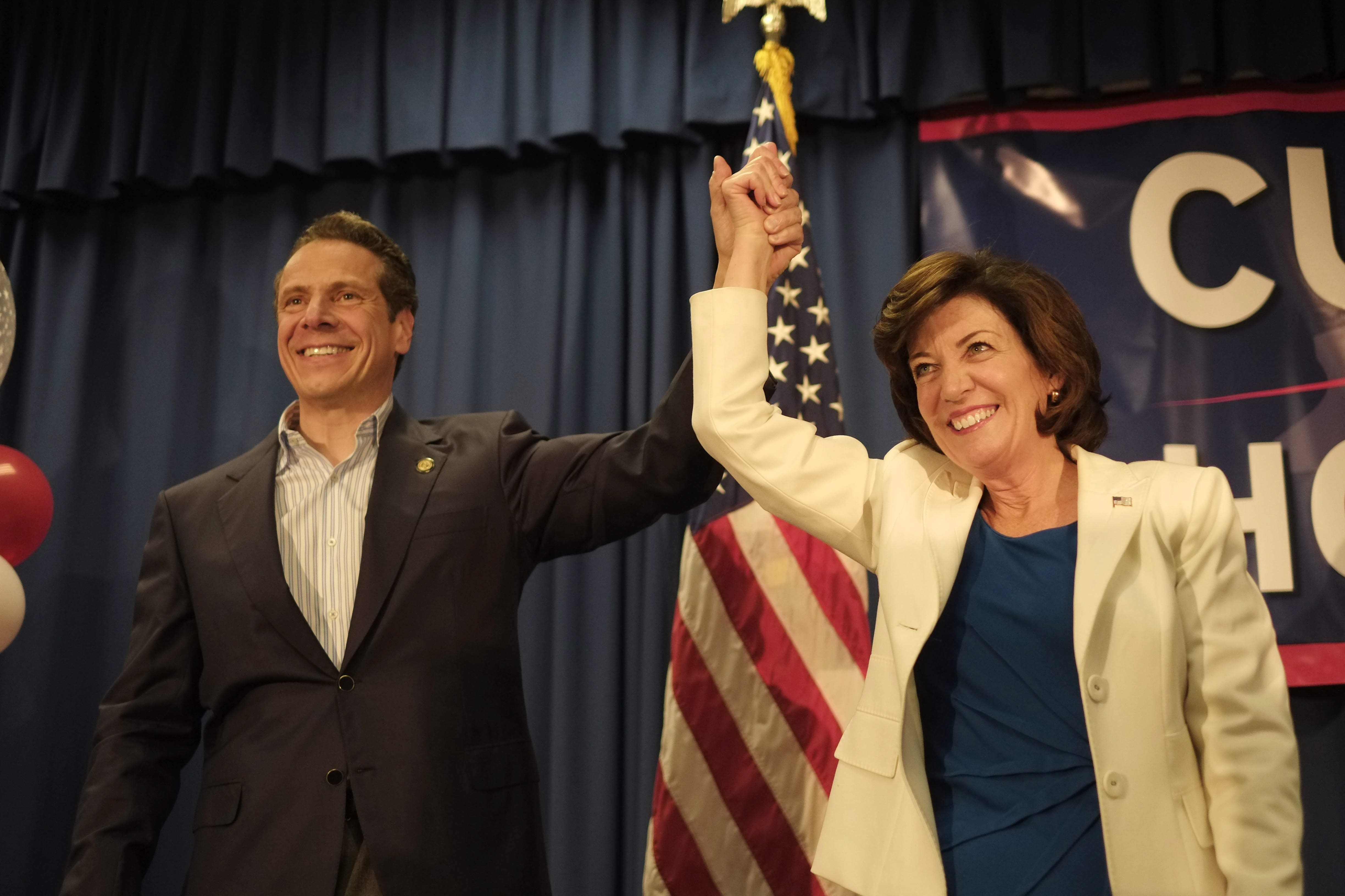 Gov. Andrew Cuomo and running mate Kathy Hochul take the stage together during an event at the United Auto Workers hall in Amherst, Friday, May 23, 2014. (Derek Gee/Buffalo News)