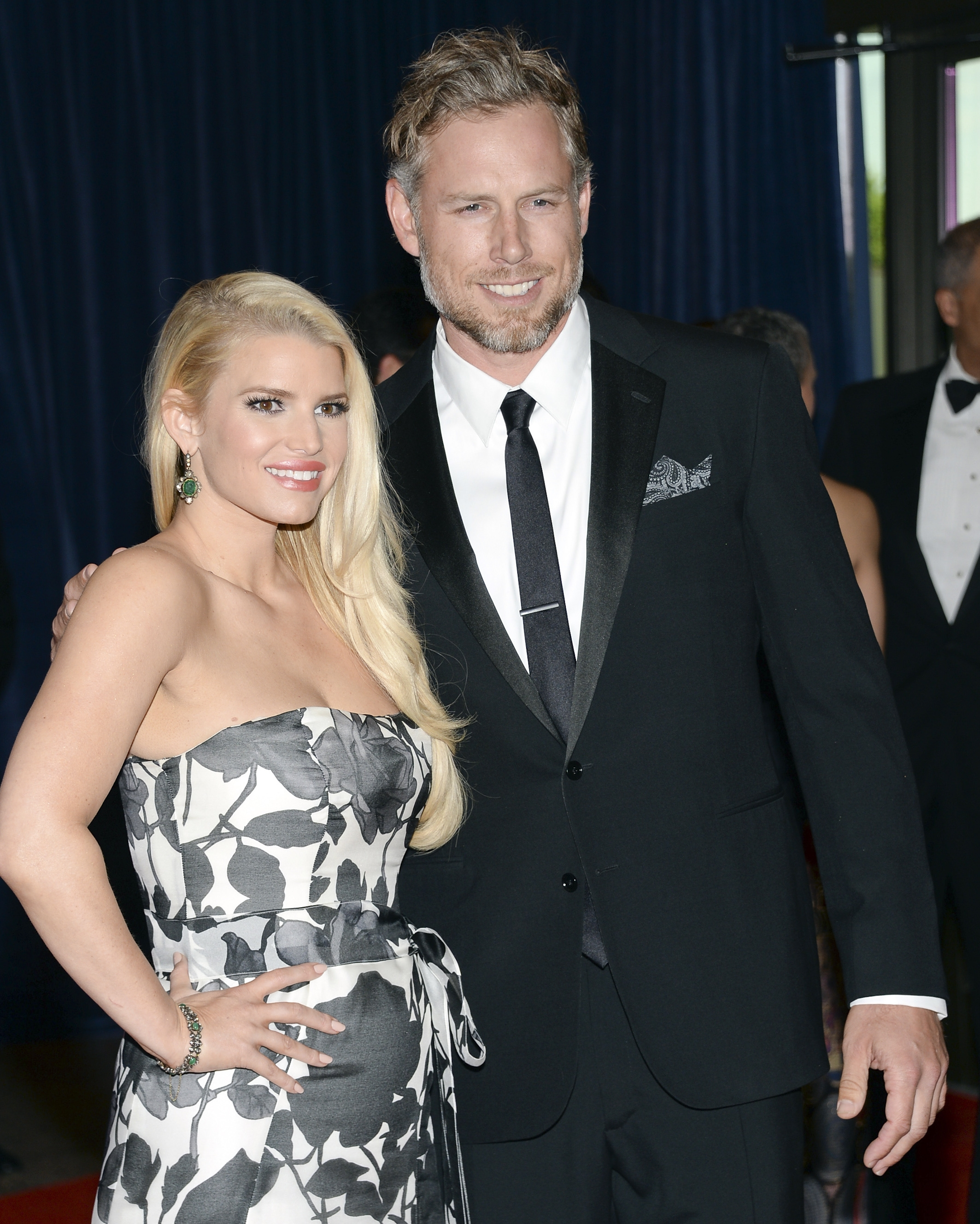 Jessica Simpson and Eric Johnson, shown here in May, were married Saturday in Montecito, Calif.