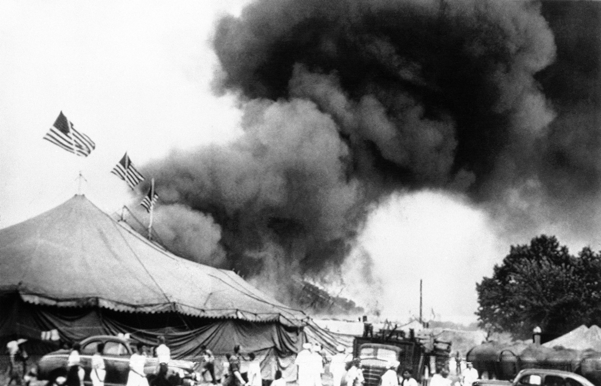 Flames shoot from the top of the main tent of the Ringling Brothers Barnum and Bailey Circus in Hartford, Conn., on July 6, 1944.