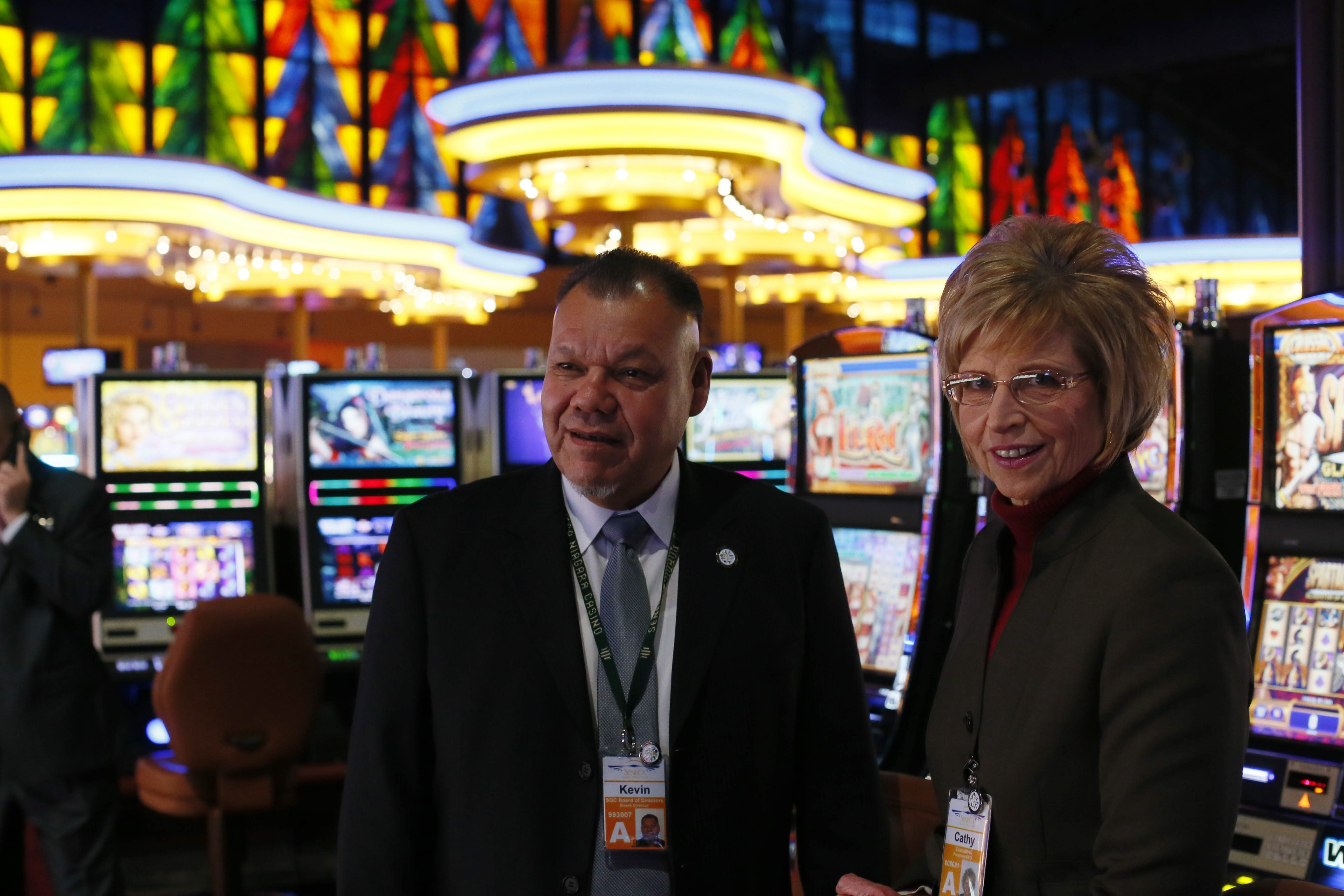 Seneca Gaming Corporation Chairman Kevin Seneca and President and CEO Cathy Walker during a tour of the newly renovated gaming floor at Seneca Niagara Casino, Wednesday, Dec. 11, 2013.  (Derek Gee/Buffalo News)