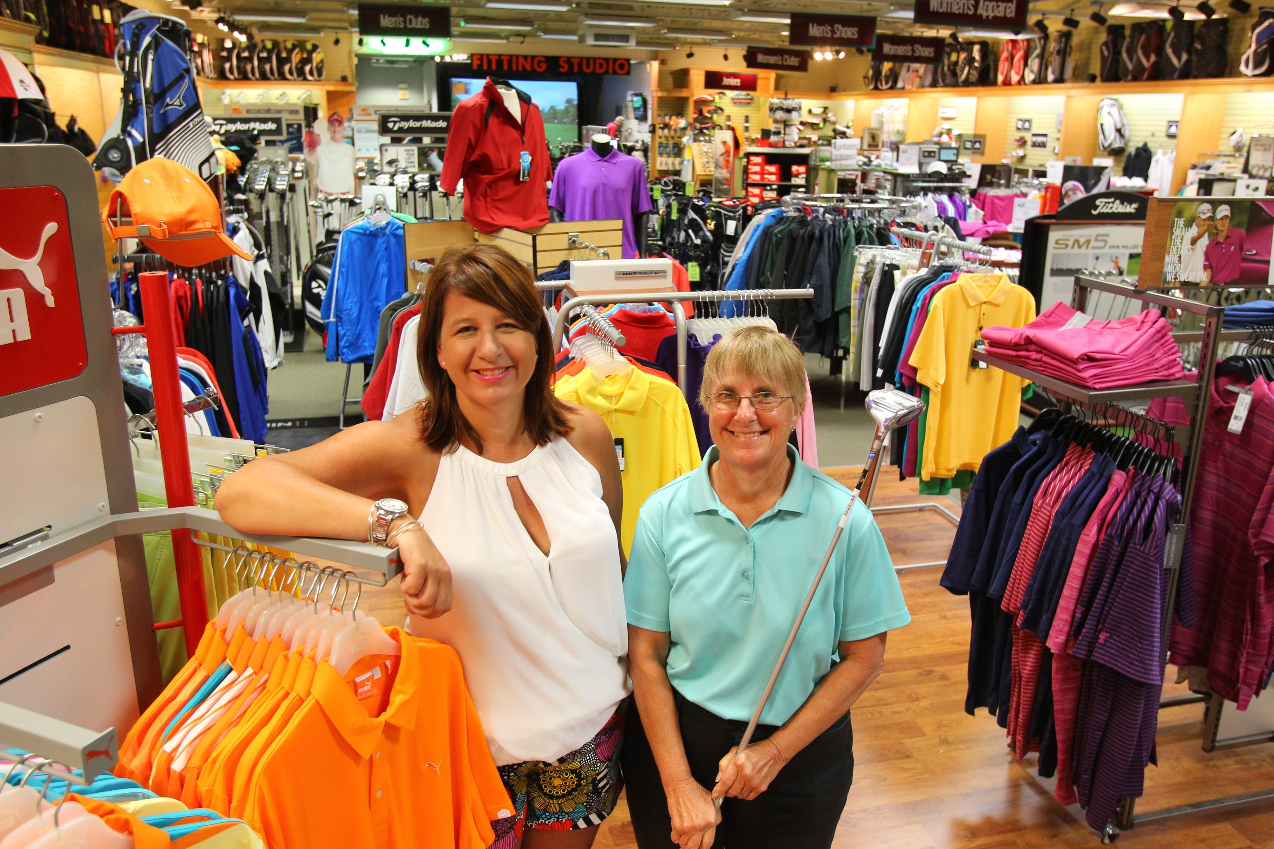 Michele Litwin, left, and Donna Henrich own Golf Headquarters, the pro shop located in Wehrle Golf Dome.