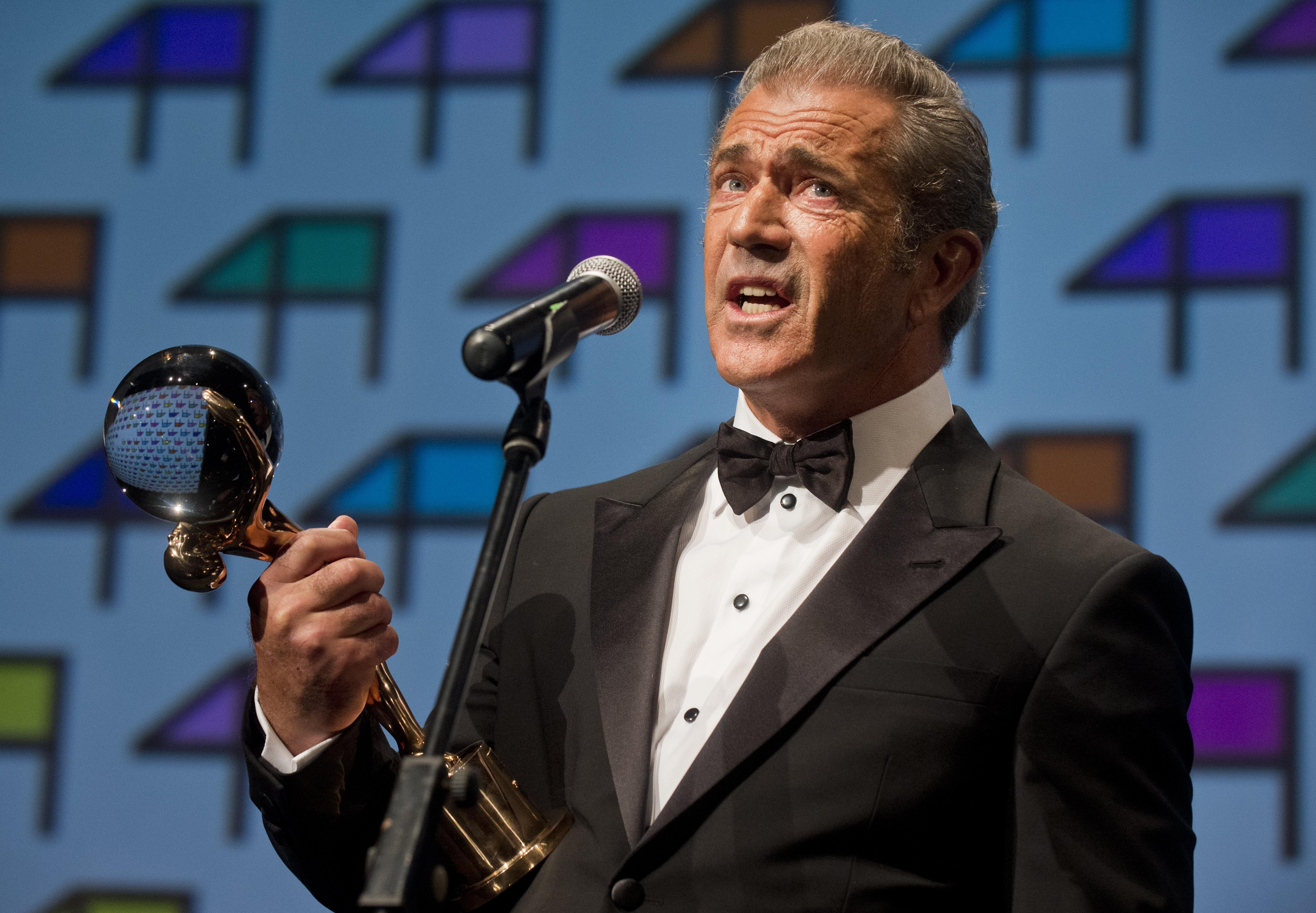 Global recognition: Hollywood actor, director and producer Mel Gibson accepts the Crystal Globe for Outstanding Artistic Contribution to World Cinema at the 49th Karlovy Vary International Film Festival in Bohemia on Friday.