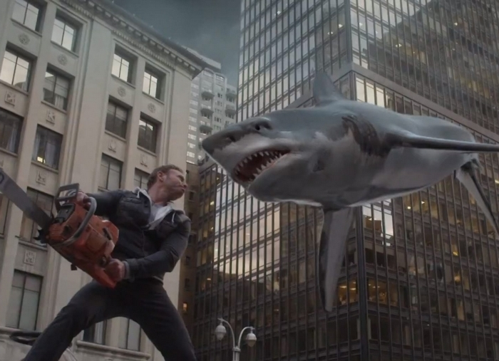 """Sharknado"" became the talk of Twitter last summer by combining bad weather and flying sharks. (Syfy channel)"