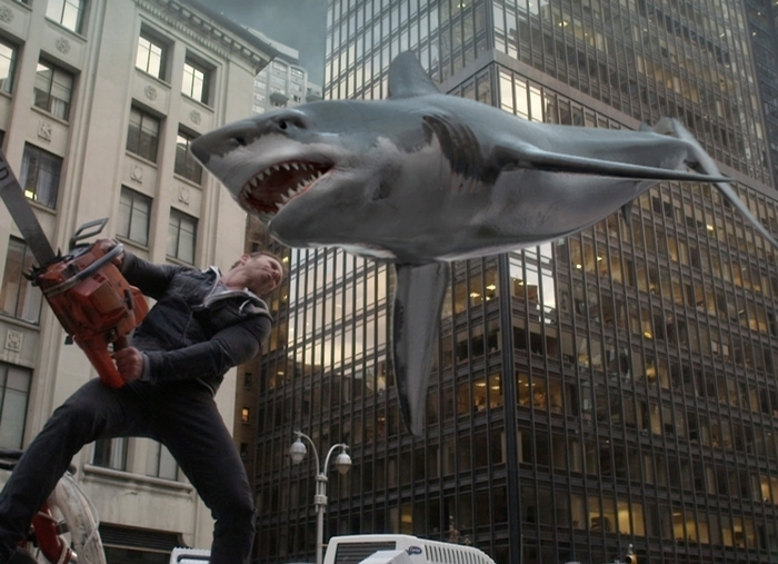 "This photo released by Syfy shows Ian Ziering as Fin Shepard  in a scene from ""Sharknado 2: The Second One."" (AP Photo/Syfy)"