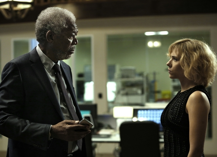 """Morgan Freeman and Scarlett Johansson star in the action-packed sci-fi film """"Lucy."""""""