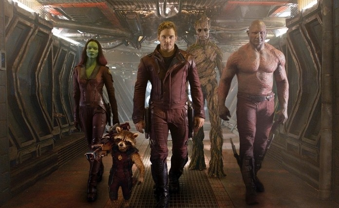 """Zoe Saldana, left, Rocket Racoon, voiced by Bradley Cooper, Chris Pratt, Groot, voiced by Vin Diesel and Dave Bautista are shown in """"Guardians of the Galaxy."""""""