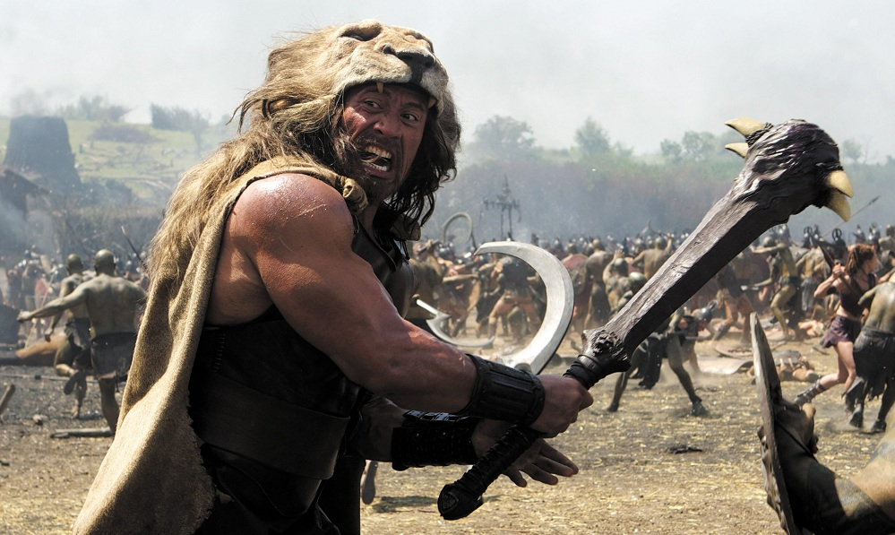 Dwayne Johnson plays Hercules in the Paramount-MGM film that comes out next week.