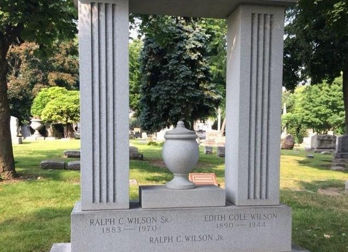 The final resting place of the late Buffalo Bills owner Ralph C. Wilson Jr. and his parents at Elmwood Cemetery in Detroit.