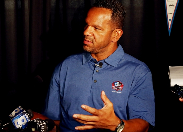 Andre Reed met with the media Friday afternoon and said comments he made to a magazine reporter about Jon Bon Jovi and Johnny Manziel were meant to be off the record. (James P. McCoy/Buffalo News)