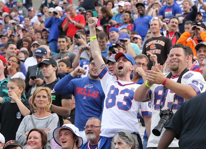 Andre Reed jerseys were omnipresent at Fawcett Stadium on Saturday night. (James P. McCoy/Buffalo News)