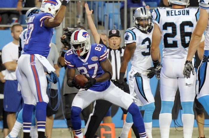 Chris Summers of the Bills reacts after making a 1-yard touchdown catch on a pass from Jeff Tuel in the fourth quarter. (Associated Press)