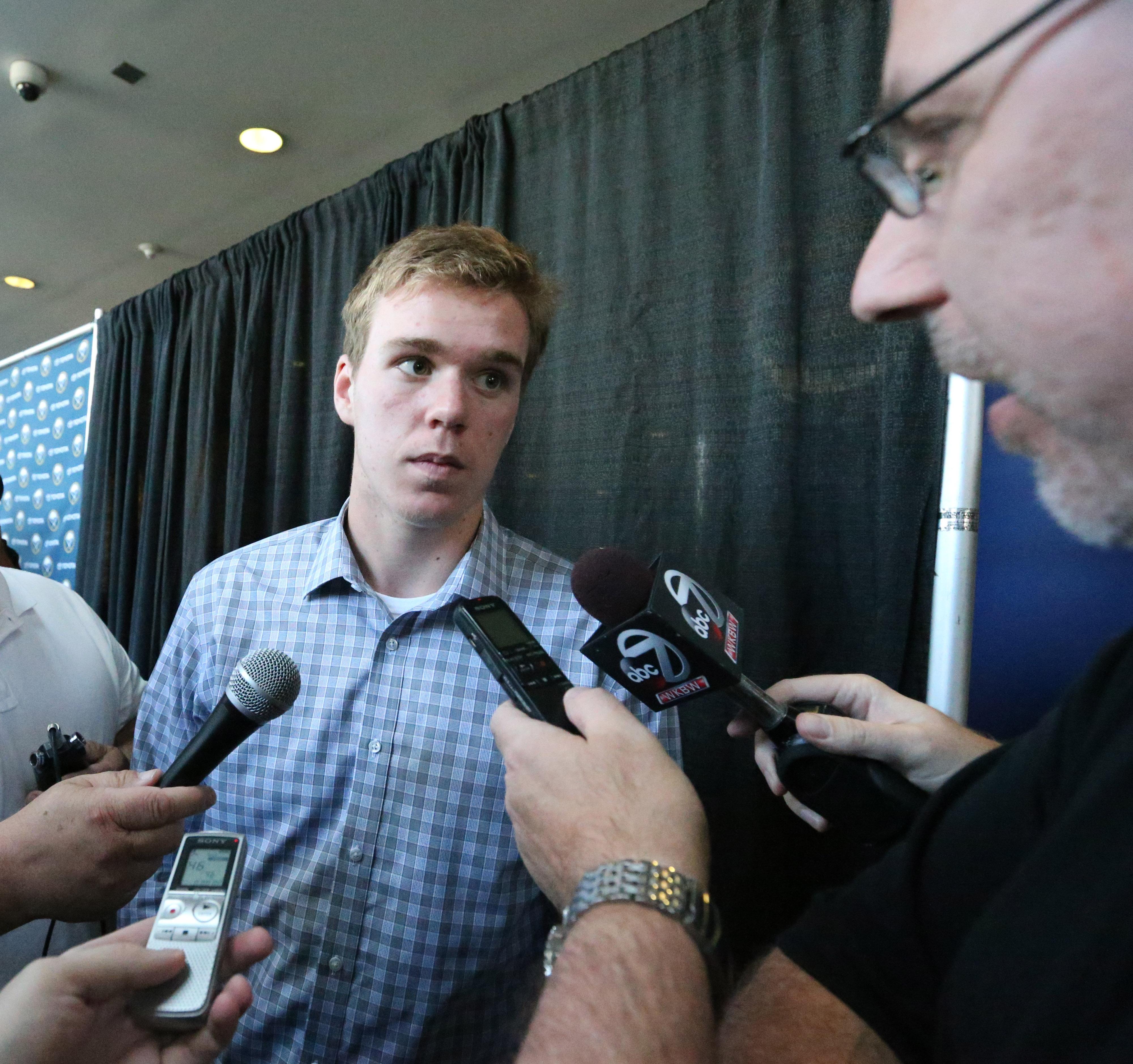 Connor McDavid meets the media today in First Niagara Center. (James P. McCoy/Buffalo News)