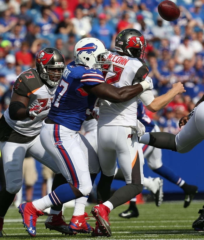 The play of defensive lineman Corbin Bryant, sacking  Bucs' QB Josh McCown in the first quarter, drew the praise of Coach Doug Marrone. (James P. McCoy/Buffalo News)