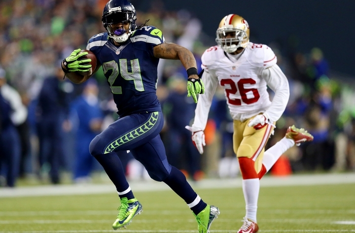 When Seattle and Marshawn Lynch beat San Francisco in the NFC Championship, it foiled Tim Graham's preseason prediction. He's modified his NFC and Super Bowl champ predictions this year. (Getty Images)