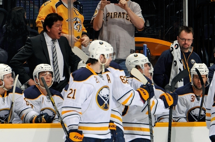 Sabres head coach Ted Nolan enjoys nothing more than taking underdog teams and showing them they can win, while GM Tim Murray is confronted with doing what's best for the greater good, which means losing and moving closer to next year's No. 1 pick – Connor McDavid. (File photo)