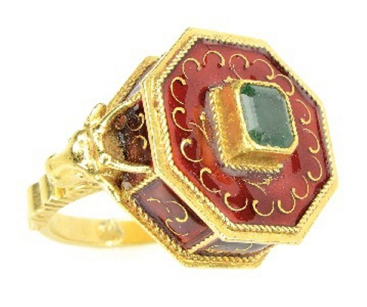 Poison rings are part of history and mystery stories. Perhaps Lucrezia Borgia murdered her foes with her ring. This 18 carat gold ring with a hidden compartment has red enamel trim and an emerald set in the center. Advertised as a poison ring at a 2014 James Julia auction in Fairfield, Me., it sold for $1,185.