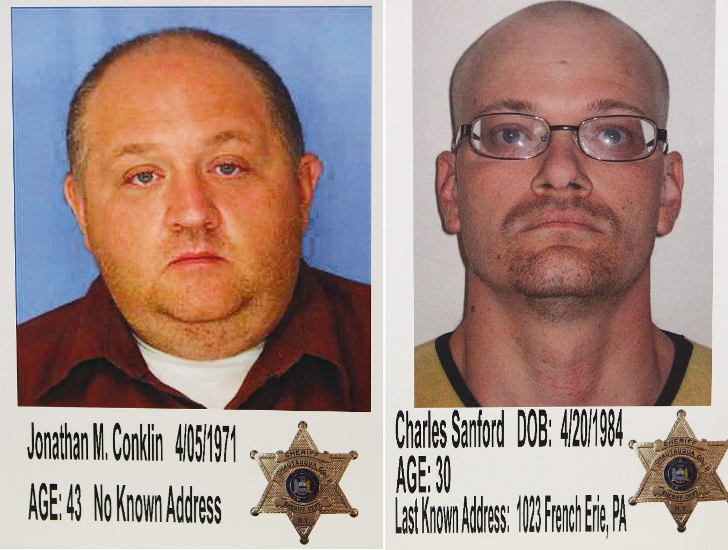 Jonathan M. Conklin, 43, left, and Charles Sanford, 30, could face the death penalty in the slaying of  Chautauqua Symphony Orchestra violinist Mary Whitaker.