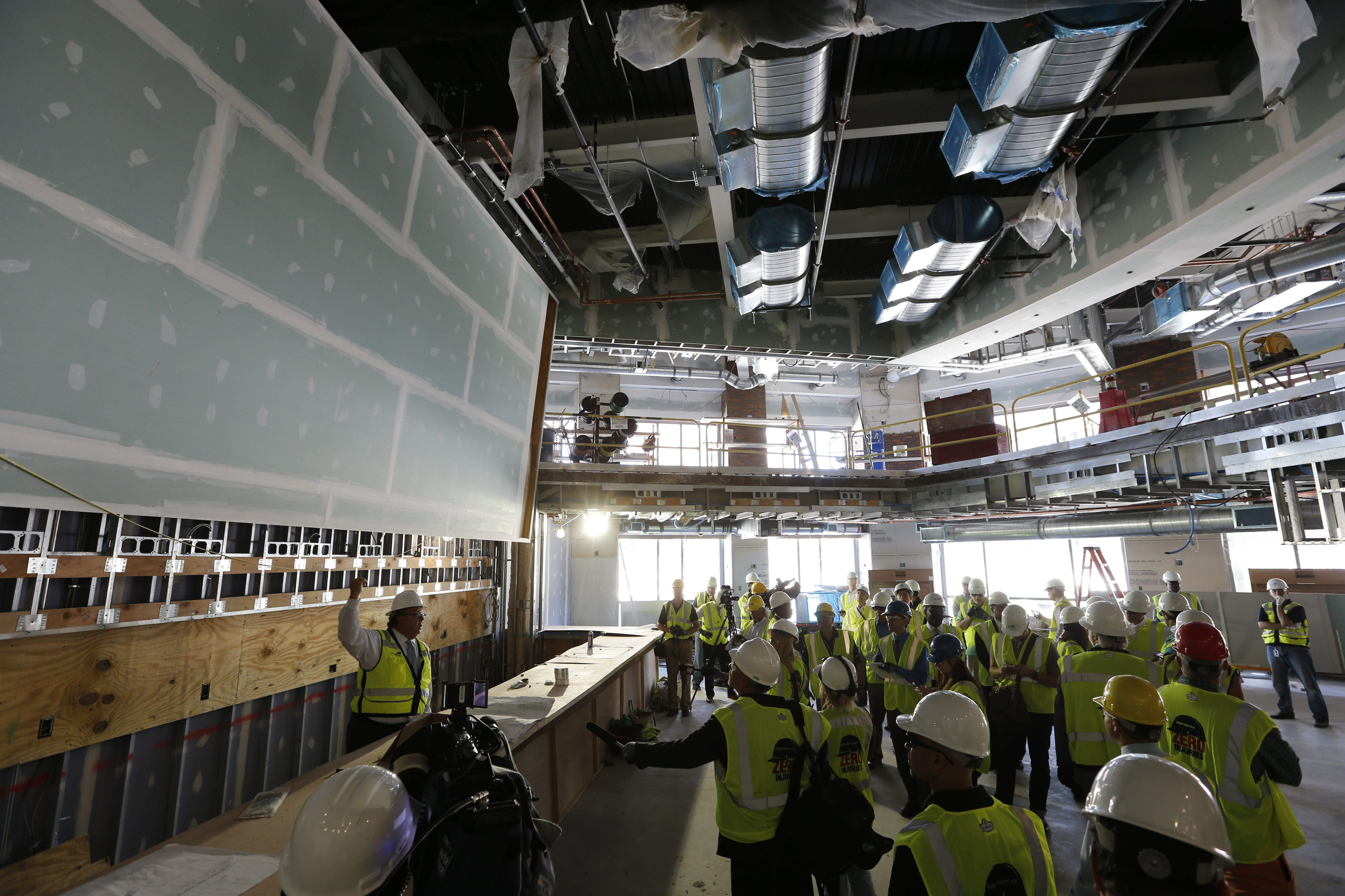 HarborCenter President John R. Koelmel stands below the giant TV screen under construction at the main bar in the (716) Food and Sport restaurant as he explains the facility's features during media tour. See a photo gallery at BuffaloNews.com.