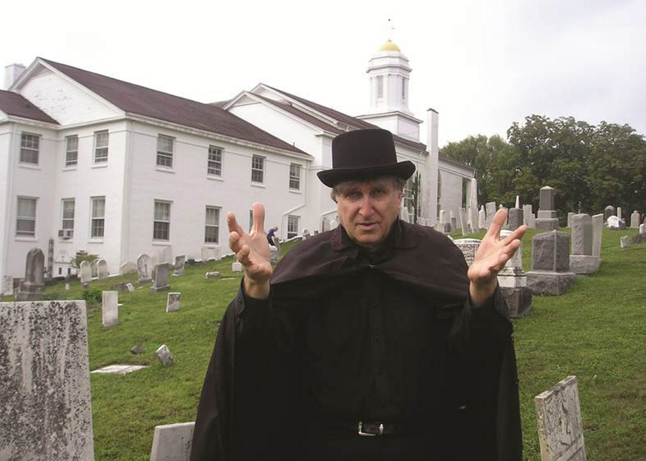 Frank Filicetti as the Walking Dead strikes a pose in Lewiston's Village Cemetery, next to First Presbyterian Church, the final stop on the Marble Orchard Ghost Walks.